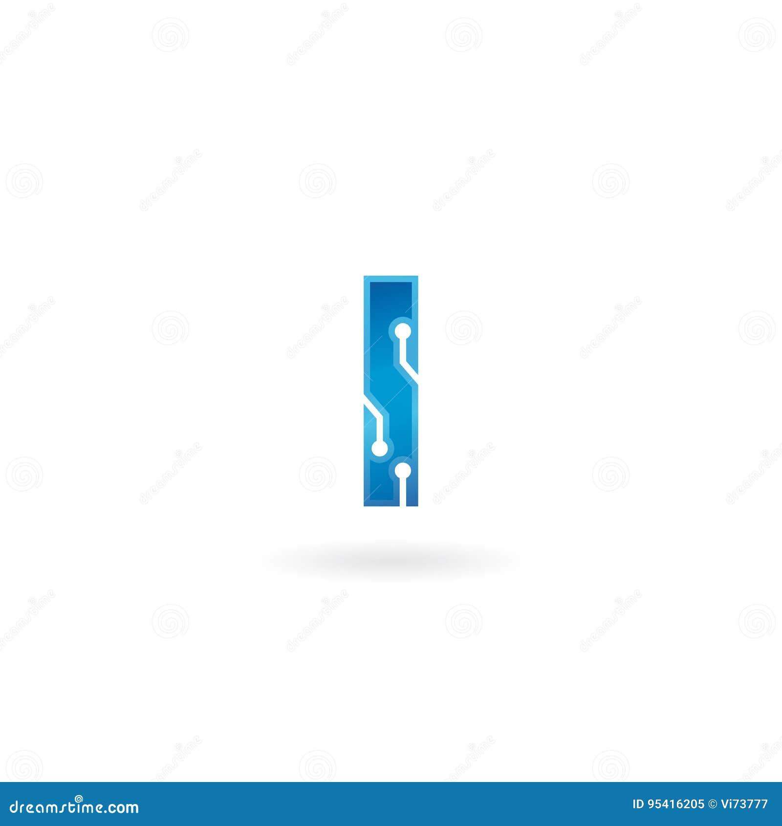 Icône de la lettre I Le logo futé, l ordinateur et les données de technologie ont rapporté des affaires, de pointe et innovateur,