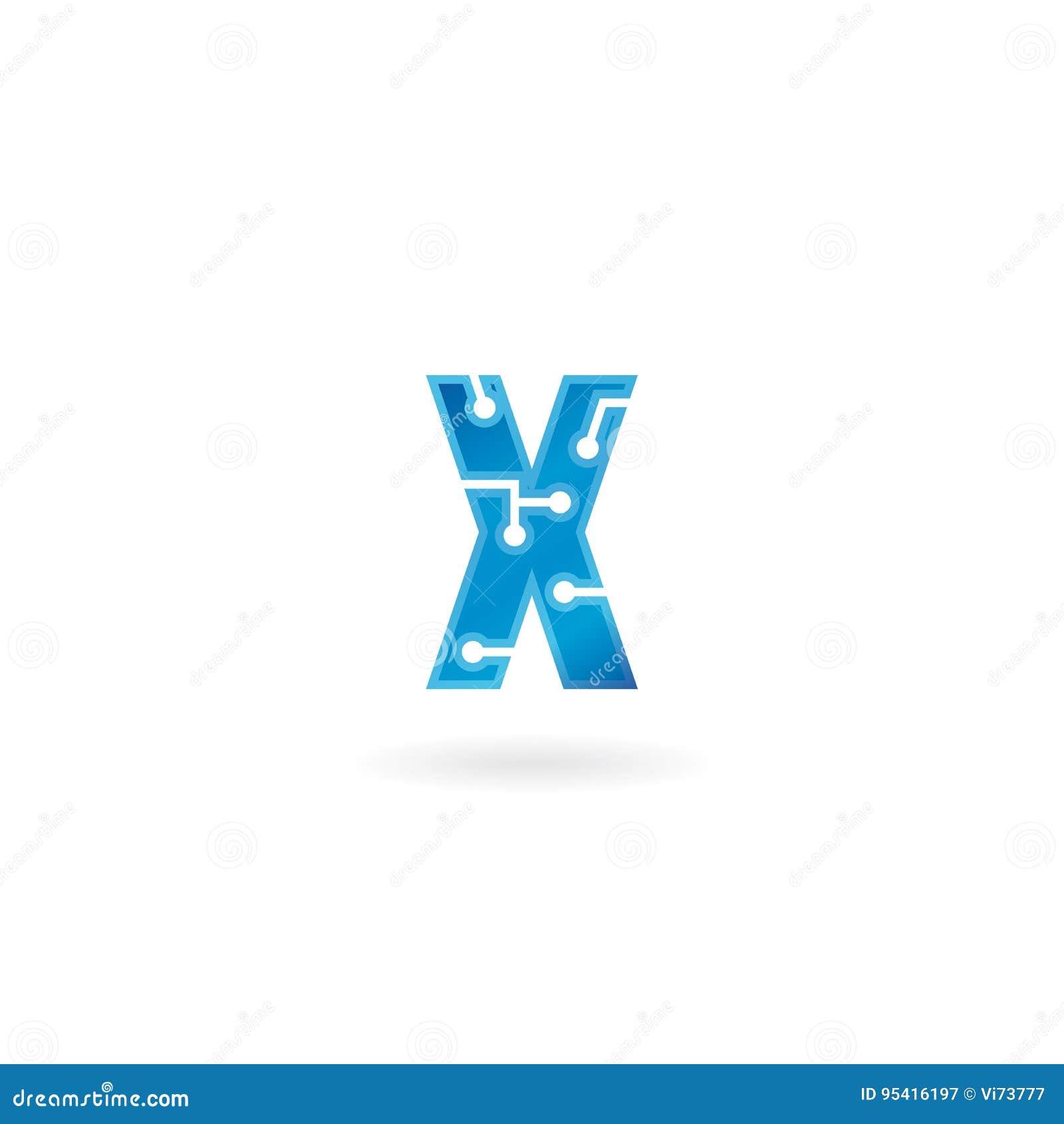 Icône de la lettre X Le logo futé, l ordinateur et les données de technologie ont rapporté des affaires, de pointe et innovateur,