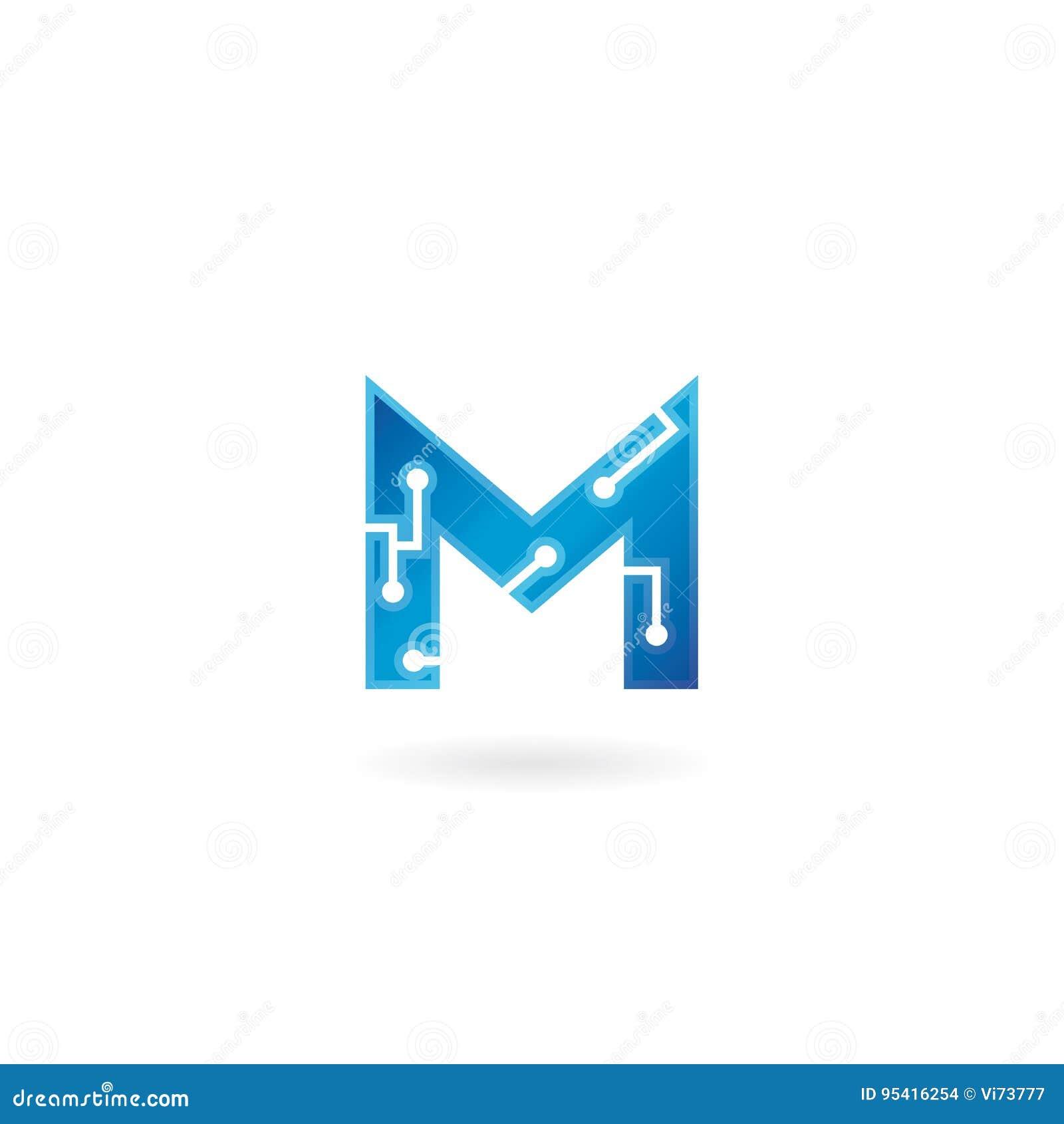 Icône de la lettre M Le logo futé, l ordinateur et les données de technologie ont rapporté des affaires, de pointe et innovateur,