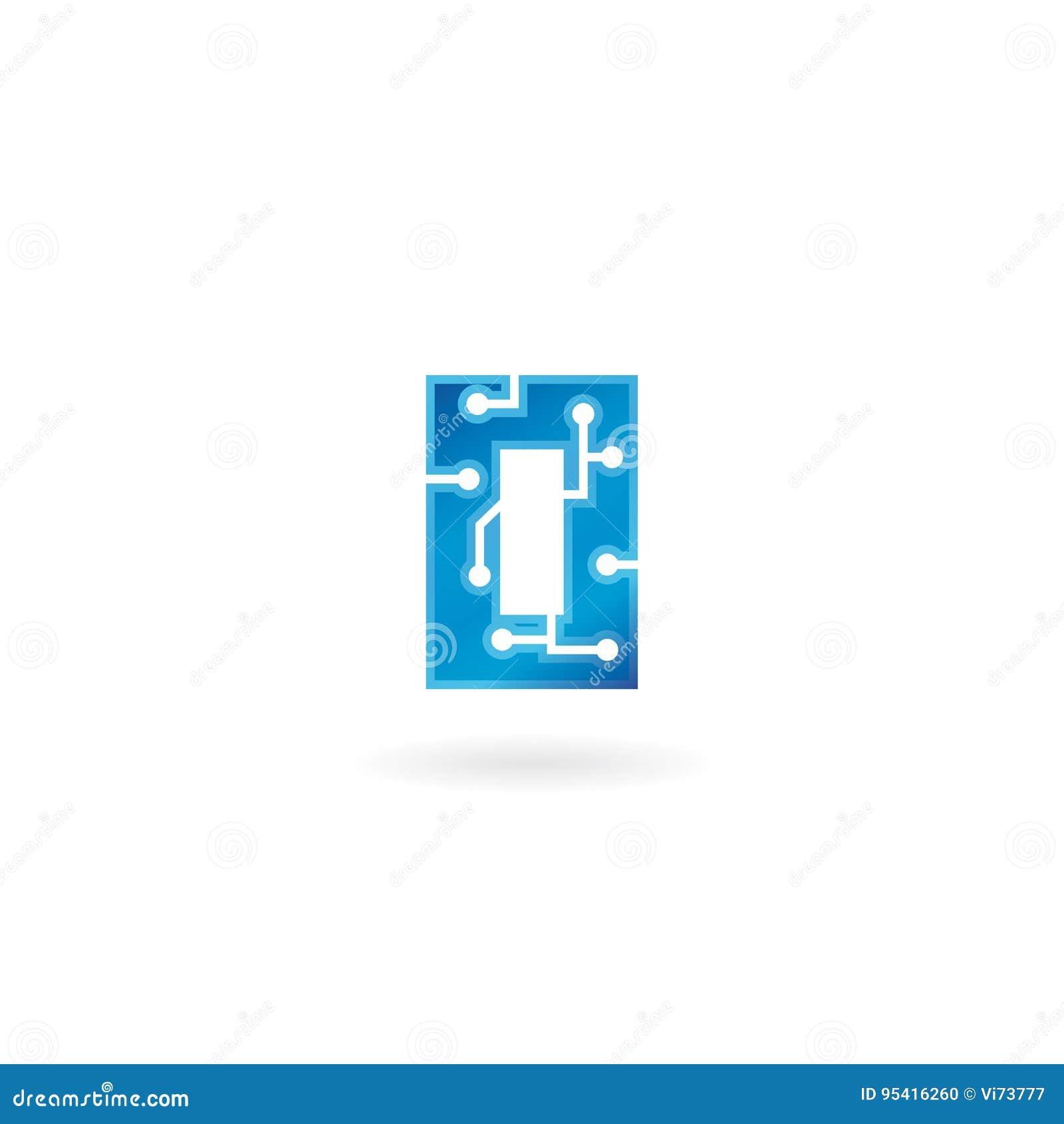 Icône de la lettre O Le logo futé, l ordinateur et les données de technologie ont rapporté des affaires, de pointe et innovateur,