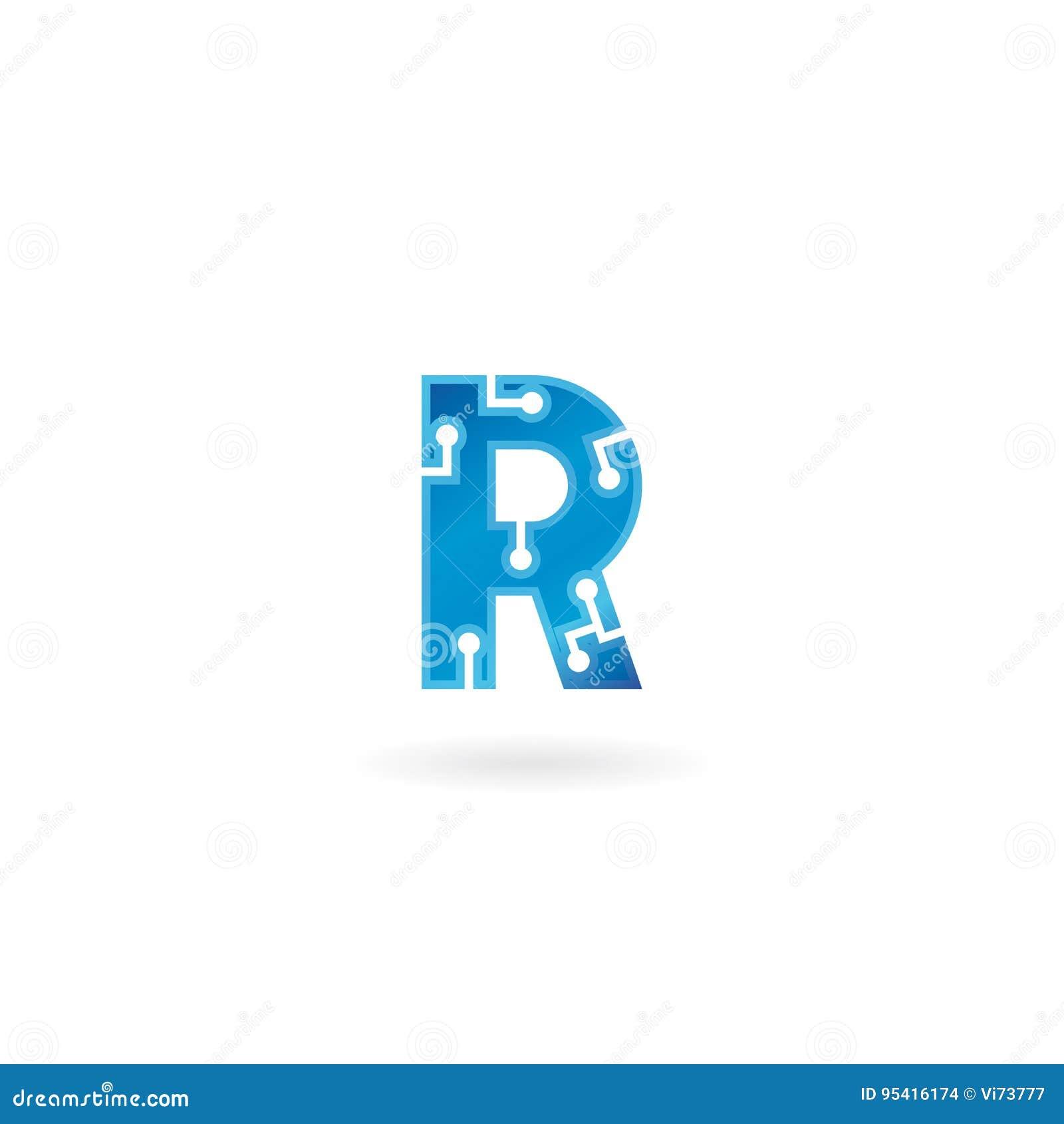 Icône de la lettre R Le logo futé, l ordinateur et les données de technologie ont rapporté des affaires, de pointe et innovateur,