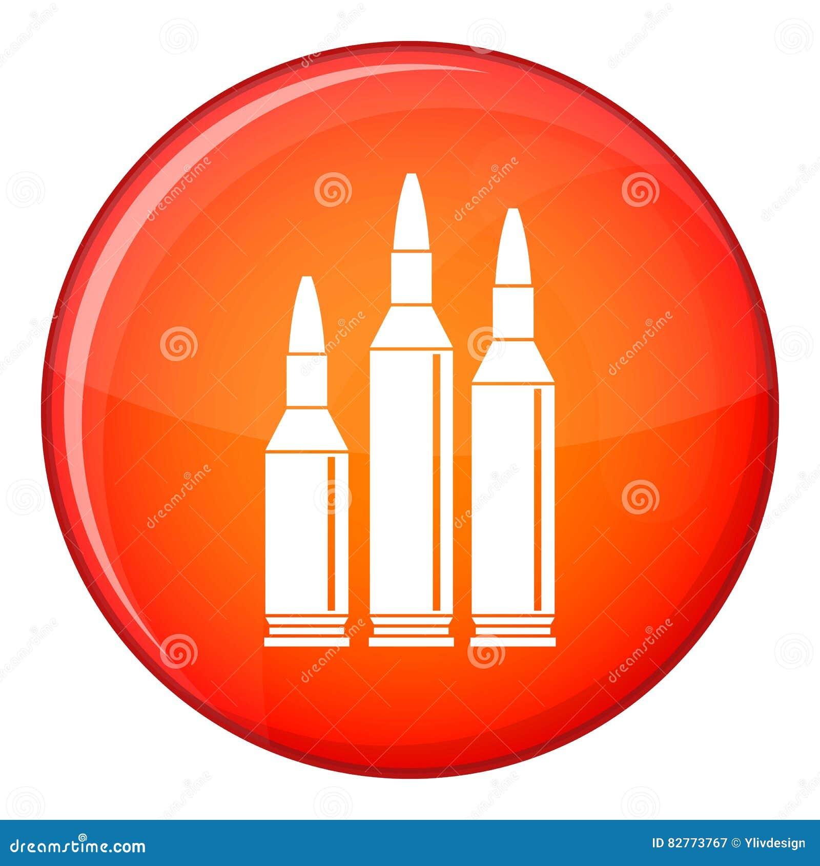 Icône de munitions de balle, style plat