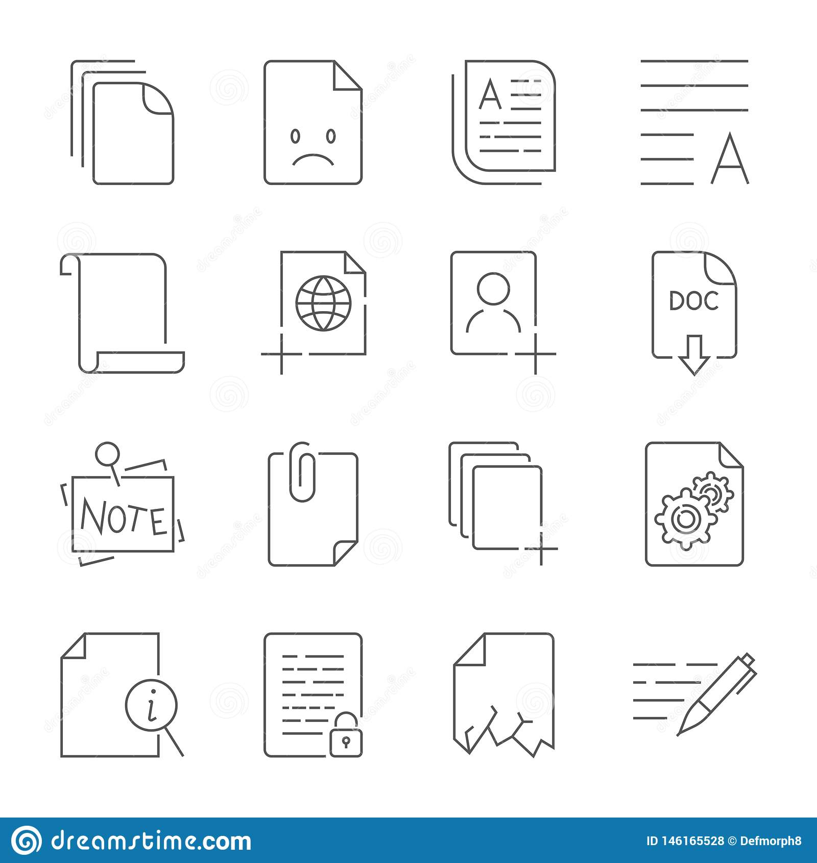 Ic?ne de papier, ic?ne de document Course Editable