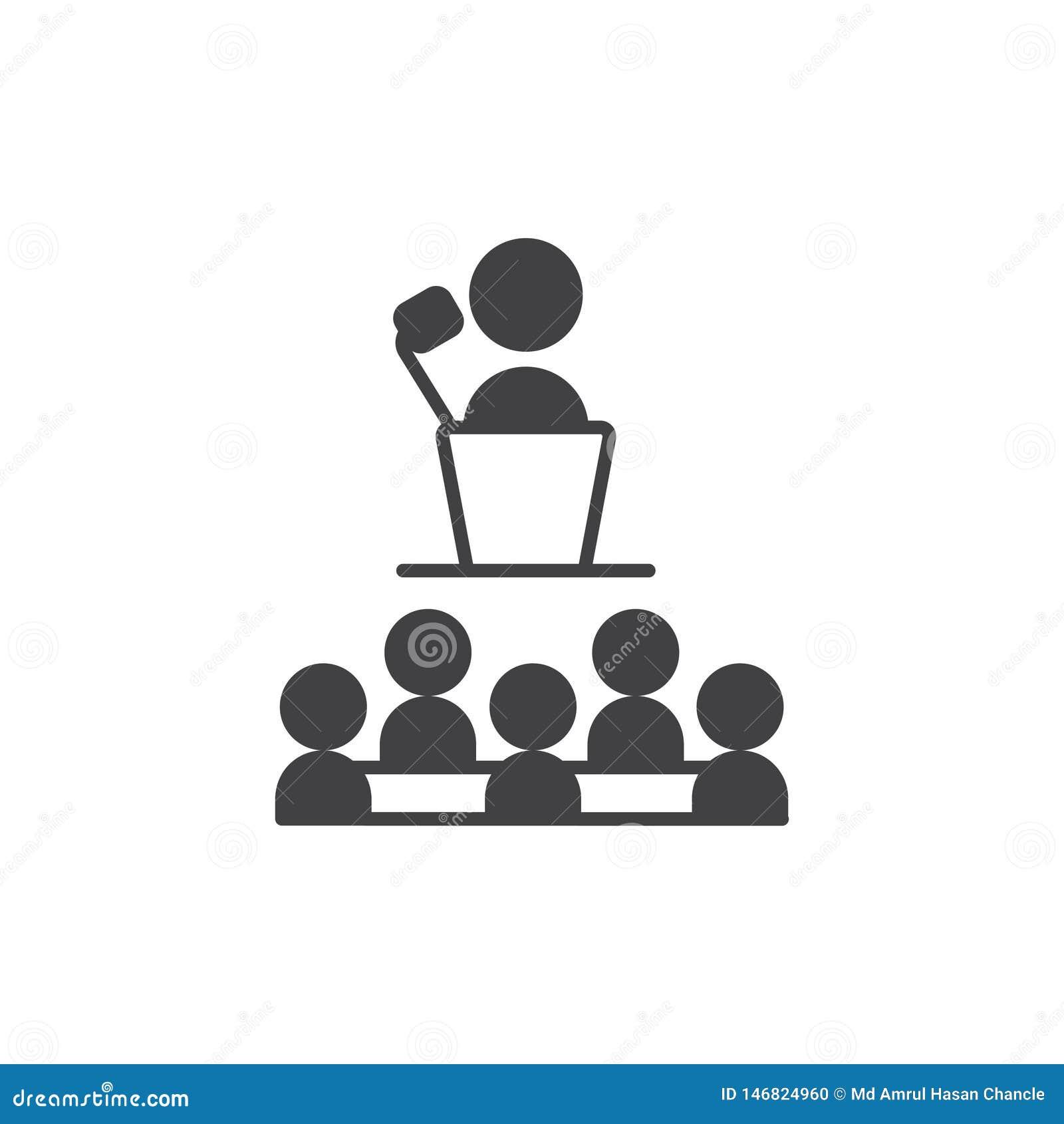 Ic?ne de pr?sentation icône de présentation de symbole de signe de vecteur avec le patron de professeur et un certain étudiant ou