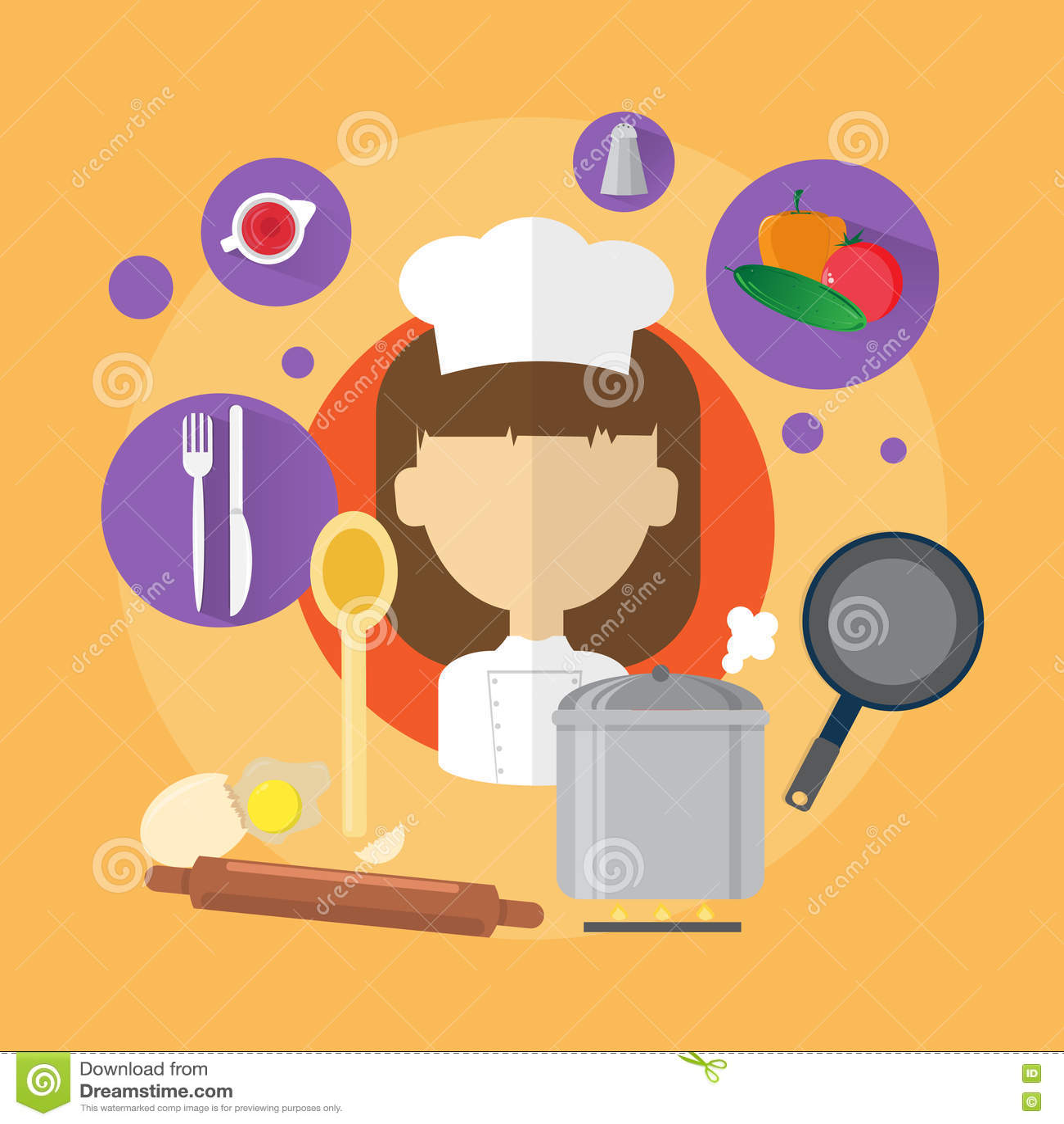 Icône de Professional Cook Woman de chef