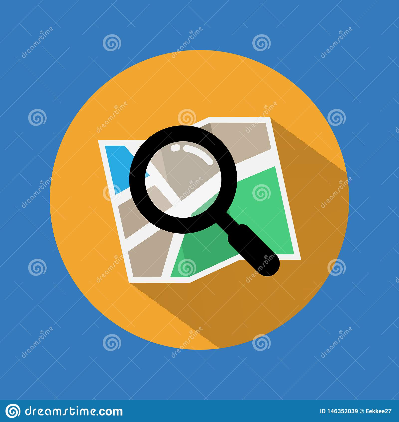 Ic?ne de recherche Trouvez l icône sur la carte avec la longue ombre Vecteur Illustration