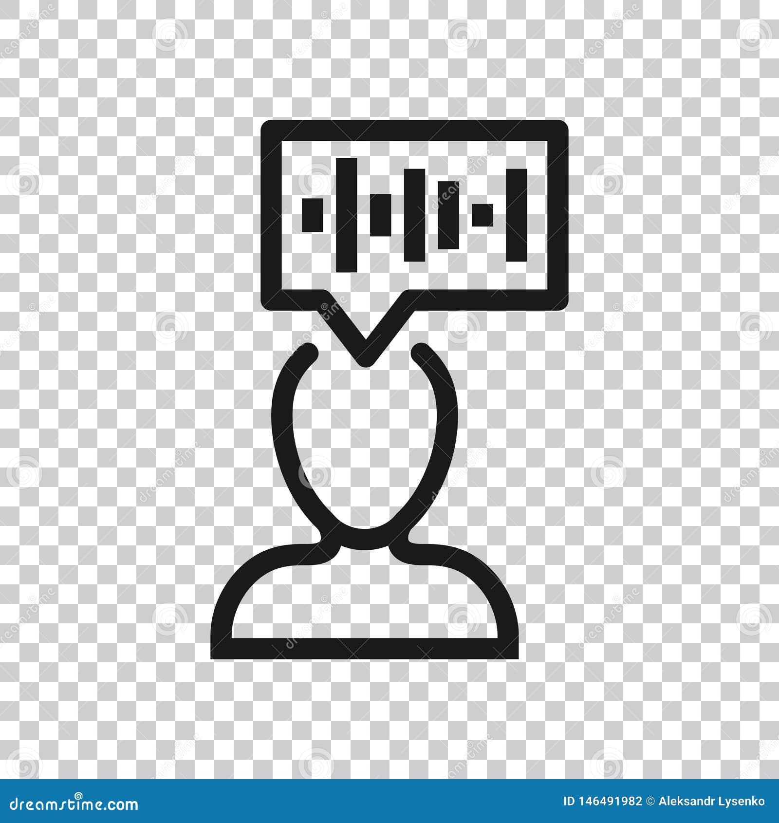 Ic?ne de reconnaissance vocale dans le style transparent Illustration saine de vecteur d authentification sur le fond d isolement