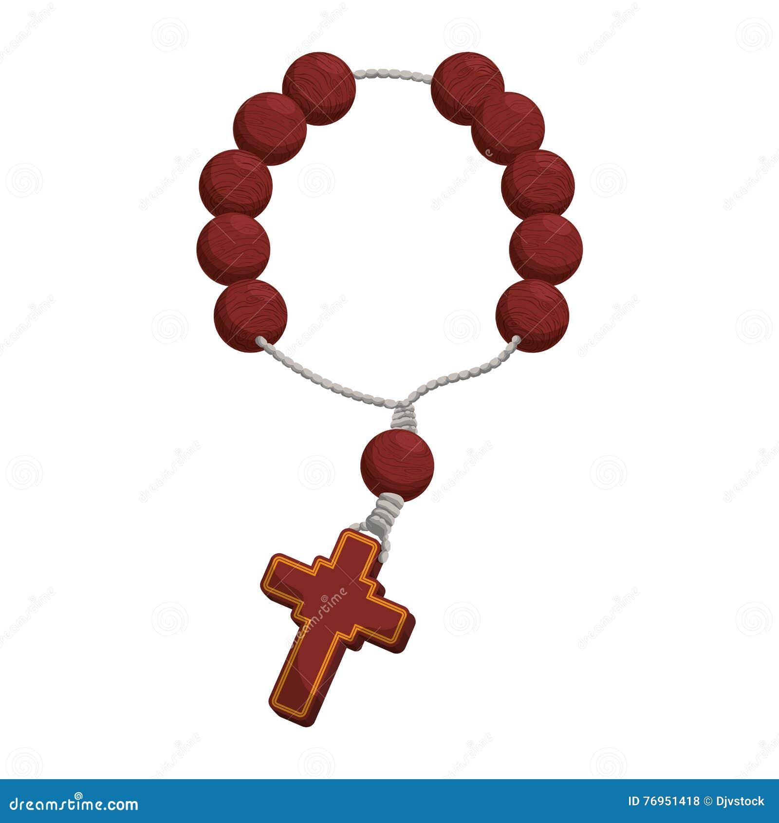 Dessin De Chapelet icône de religion de croix de nacklace de chapelet dessin de vecteur