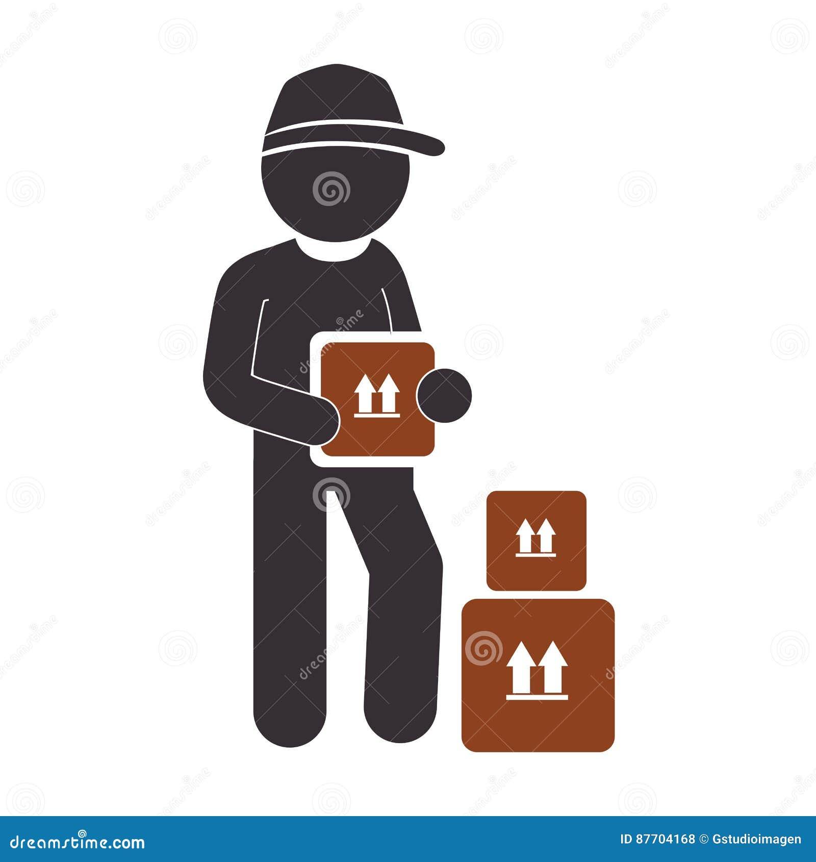 Icône de service de travailleur de la livraison