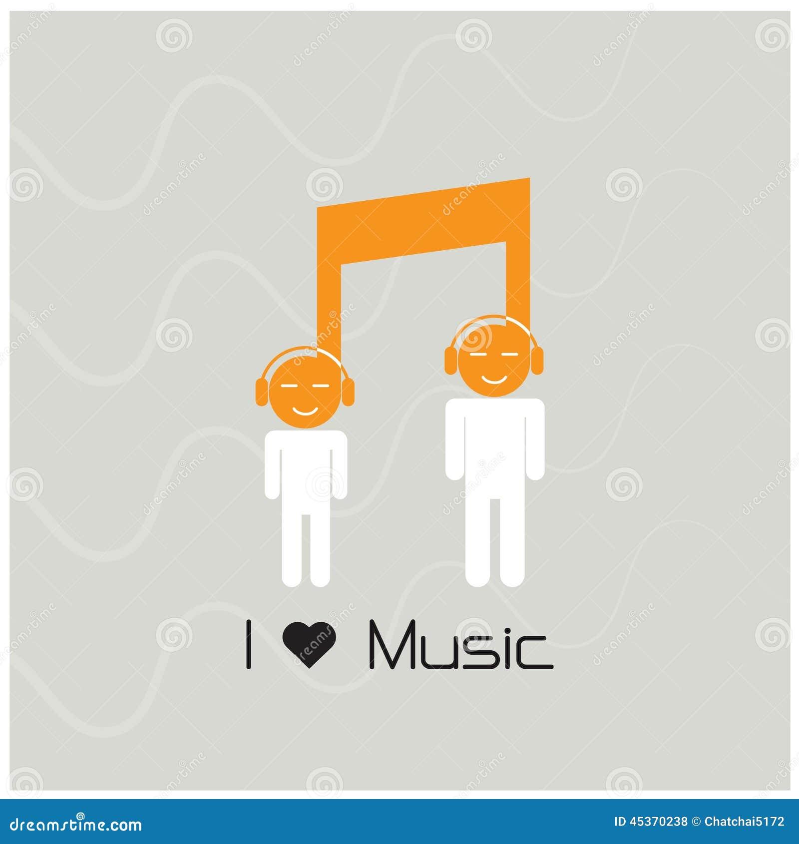 Icône de signe de note de musique et symbole créatifs de personnes de silhouette mus