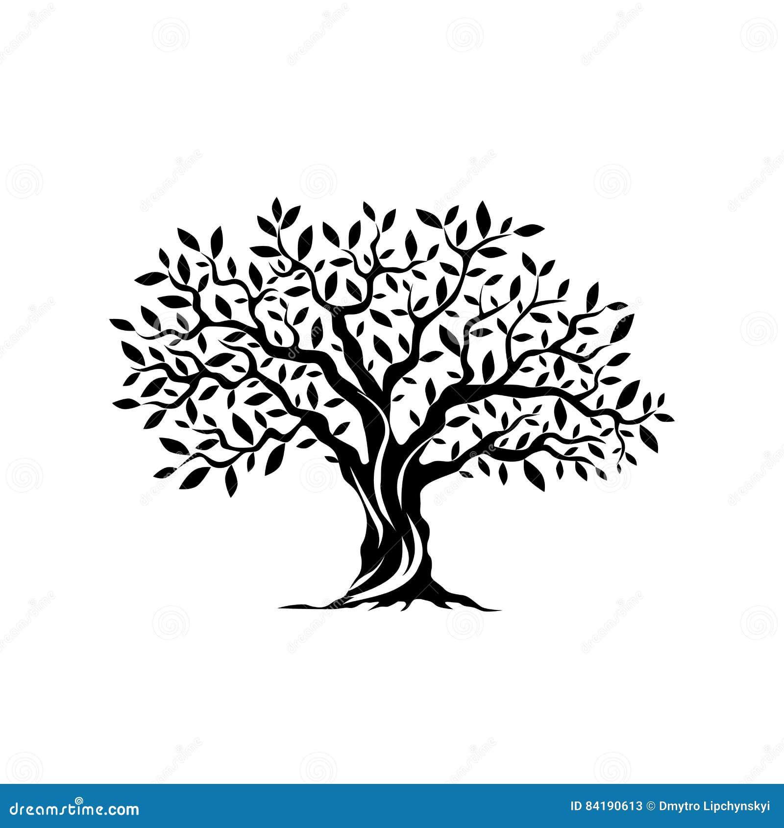 Icône de silhouette d olivier d isolement sur le fond blanc