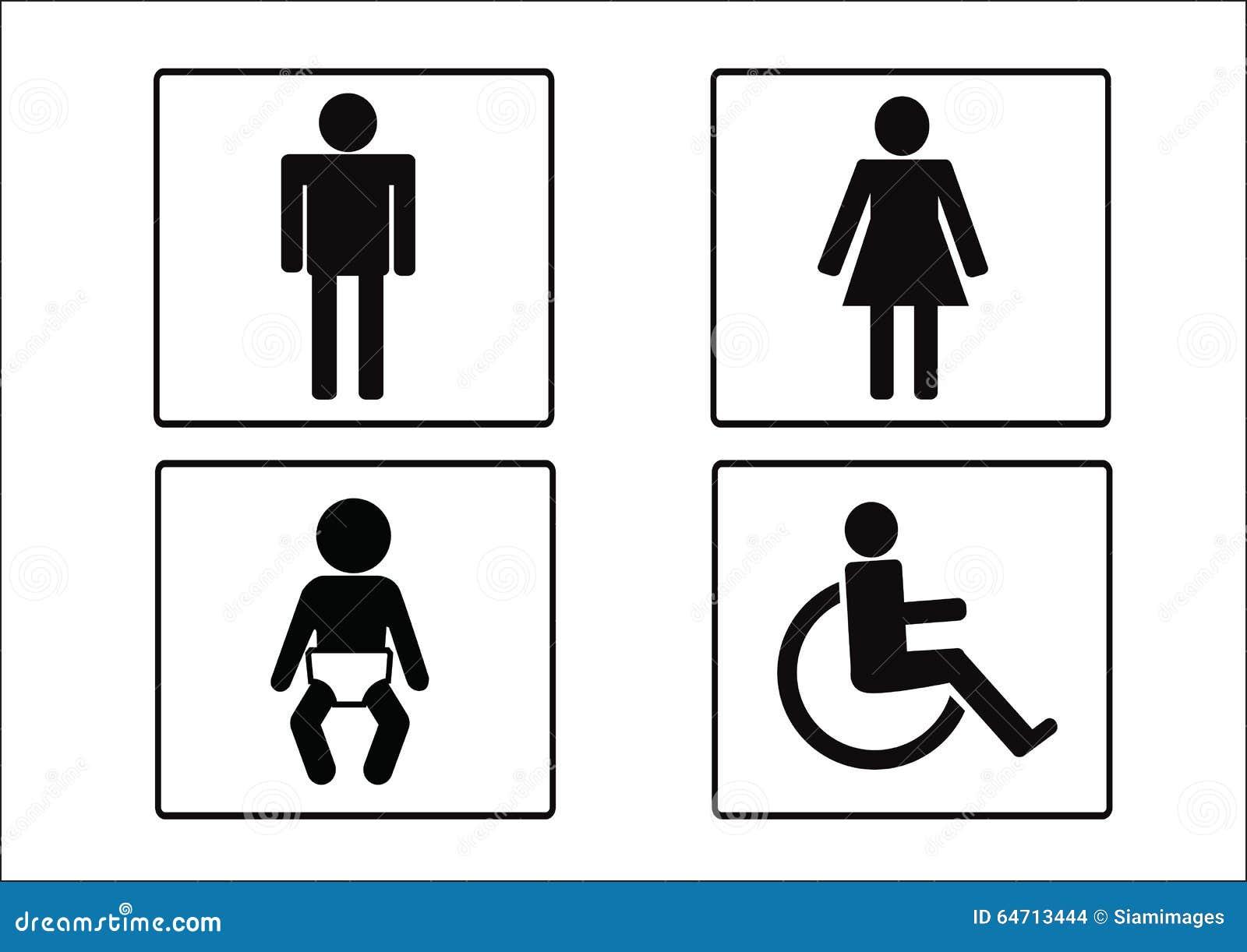 Icône De Symbole De Toilettes Dincapacité Et Denfant De Femme De L