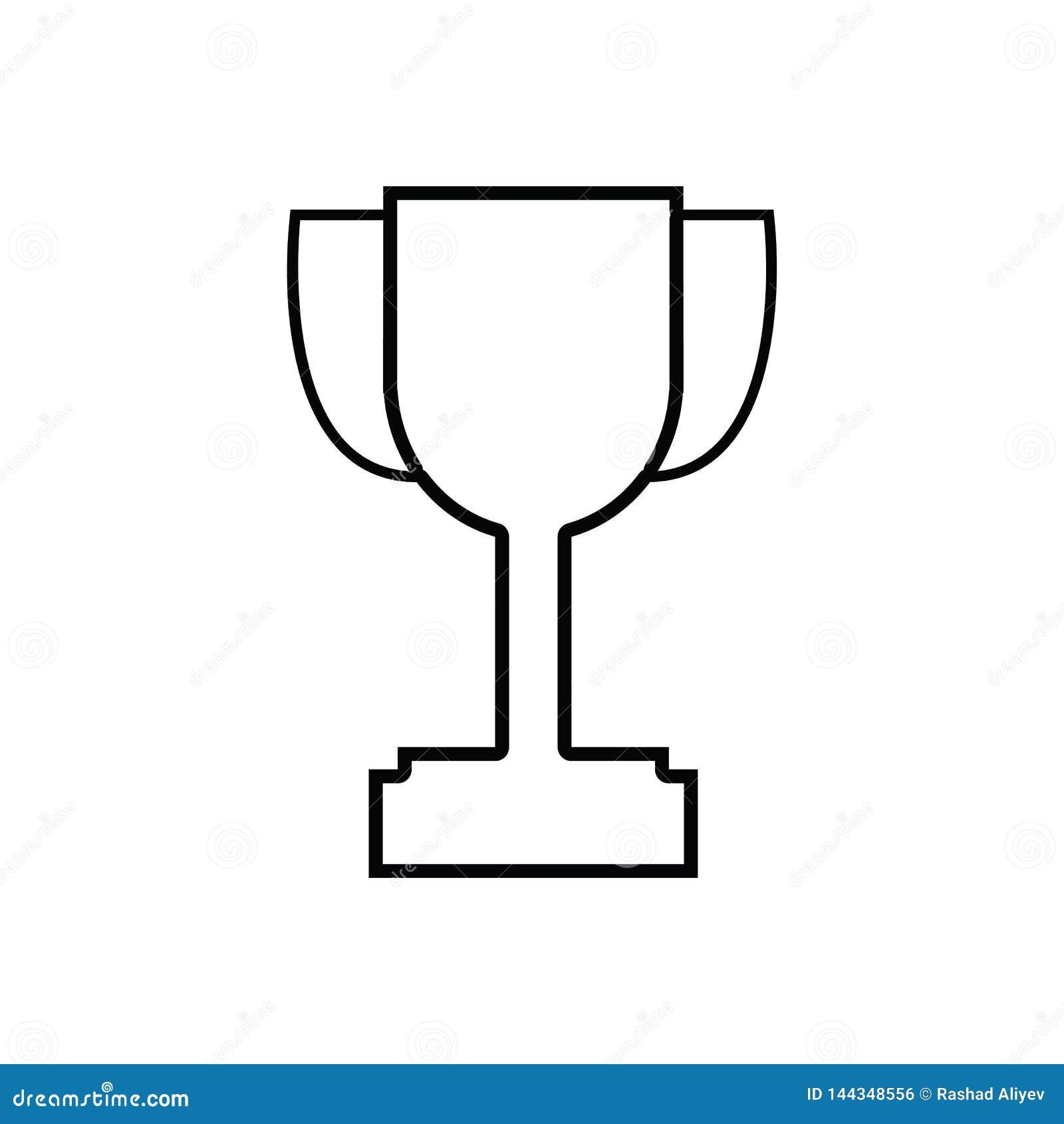 Ic?ne de tasse de troph?e de gagnant ?l?ment de sport pour le concept et l ic?ne mobiles d applis de Web Contour, ligne mince ic?