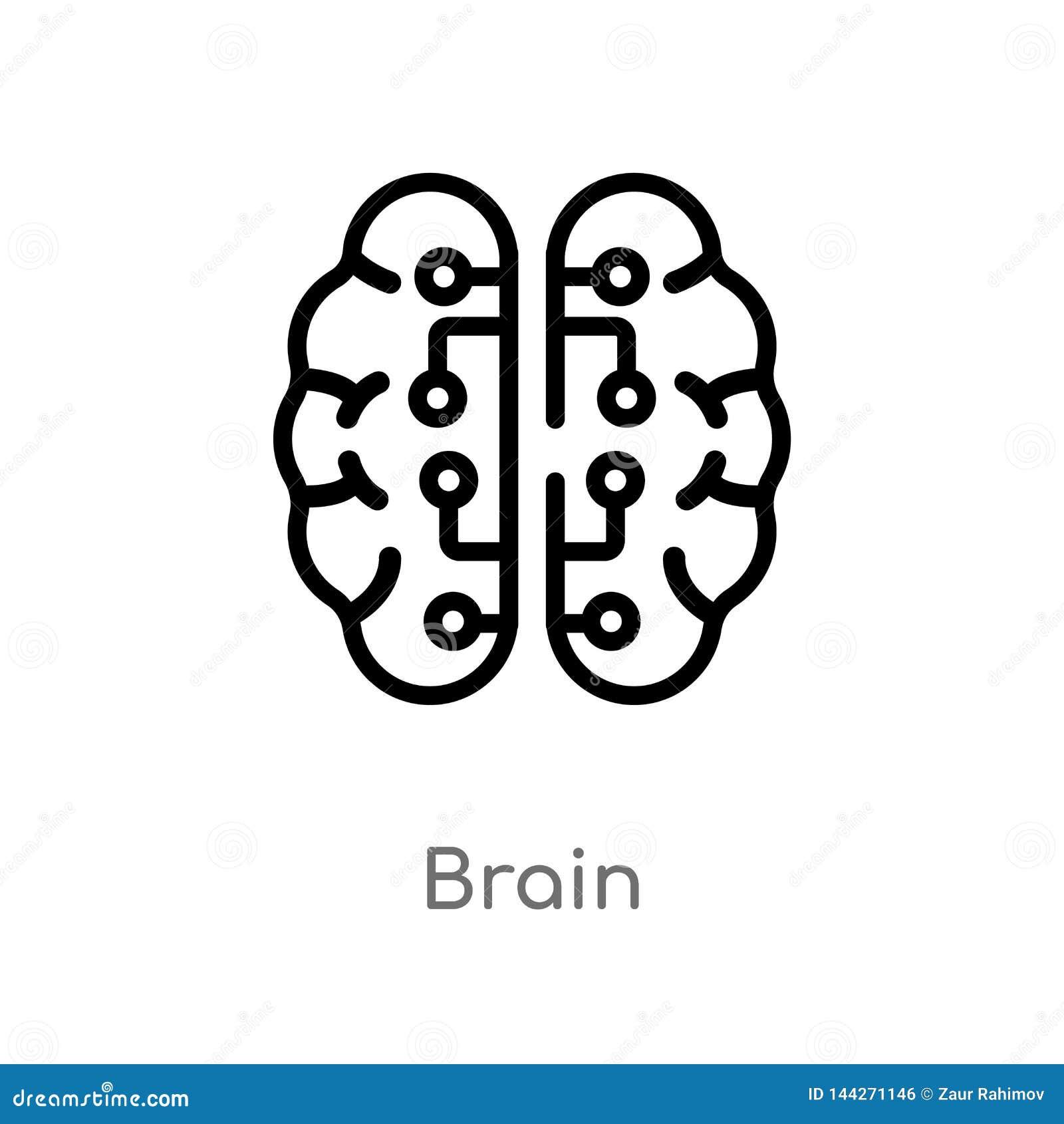 Ic?ne de vecteur de cerveau d ensemble ligne simple noire d isolement illustration d ?l?ment de concept d intelligence artificiel