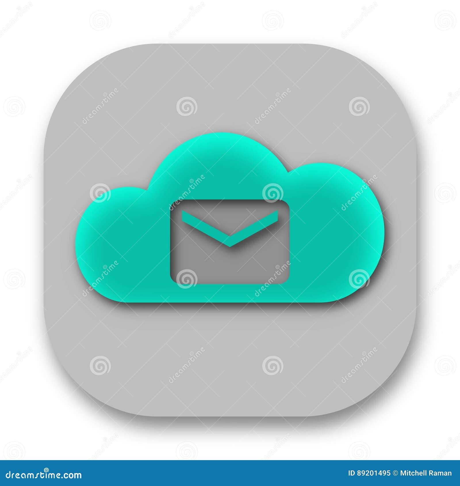 Icône du courrier APP de nuage avec l email
