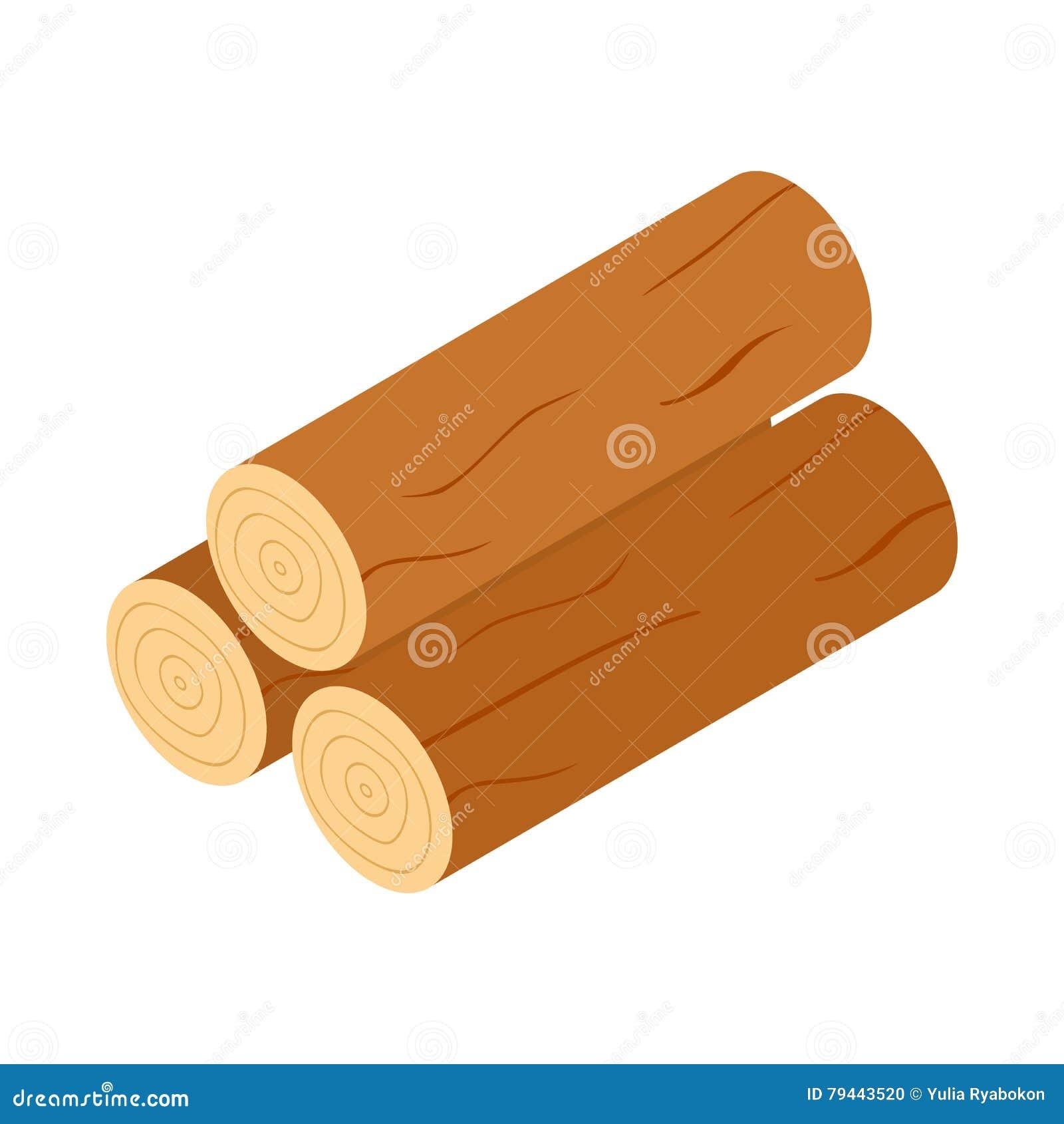 Icône en bois de rondins, style 3d isométrique