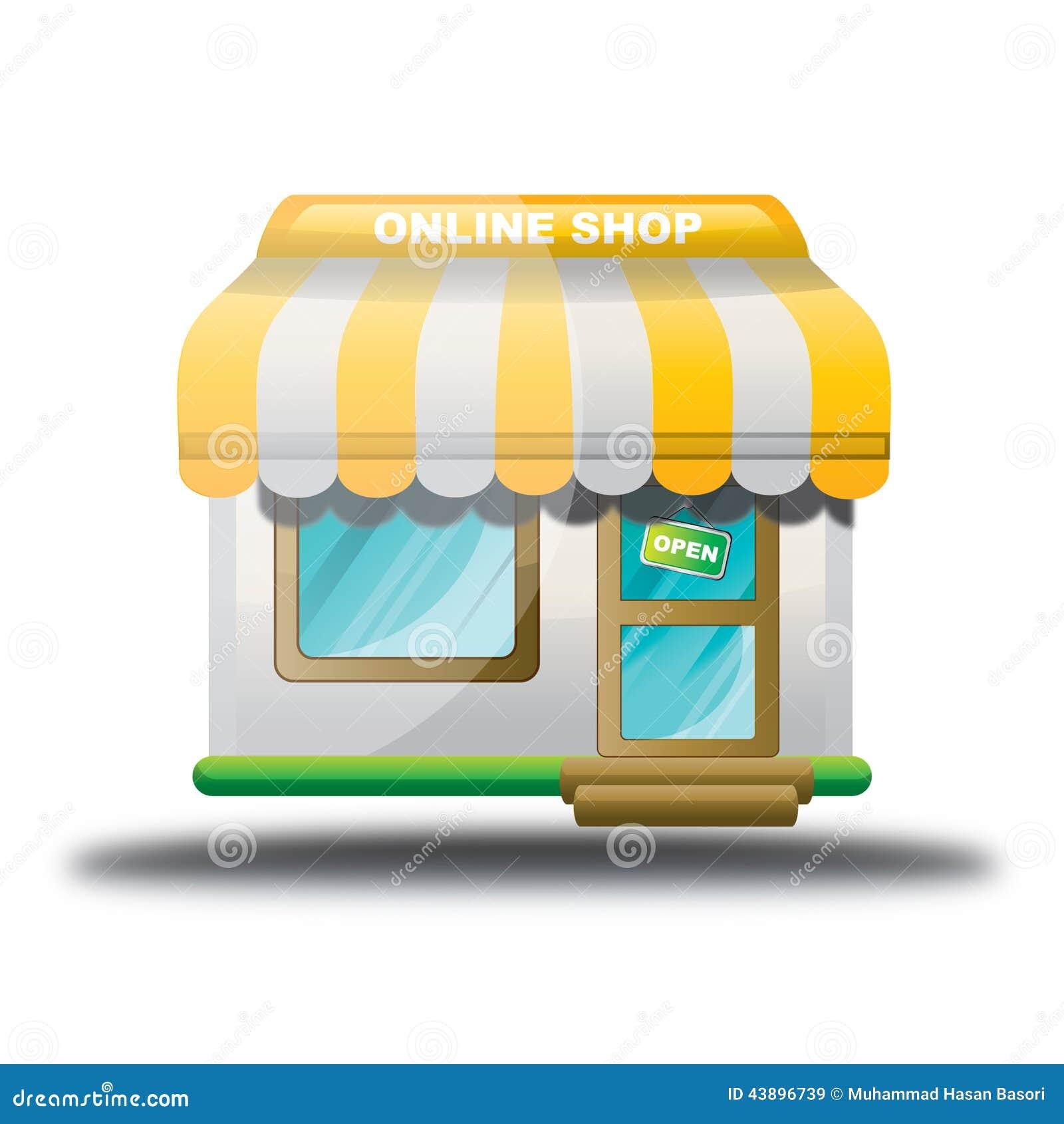 ic ne en ligne de boutique de magasin jaune illustration de vecteur illustration du. Black Bedroom Furniture Sets. Home Design Ideas