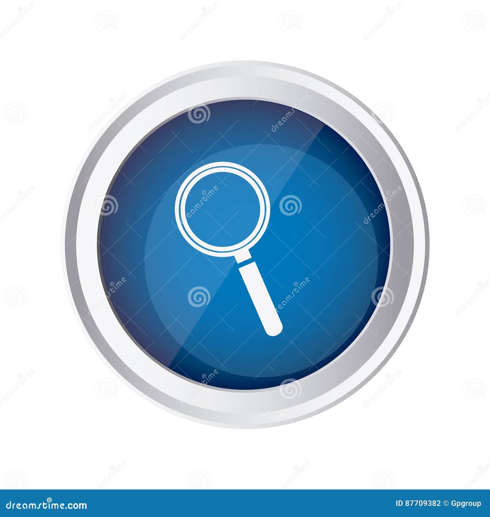 Icône en verre agnifying d emblème bleu