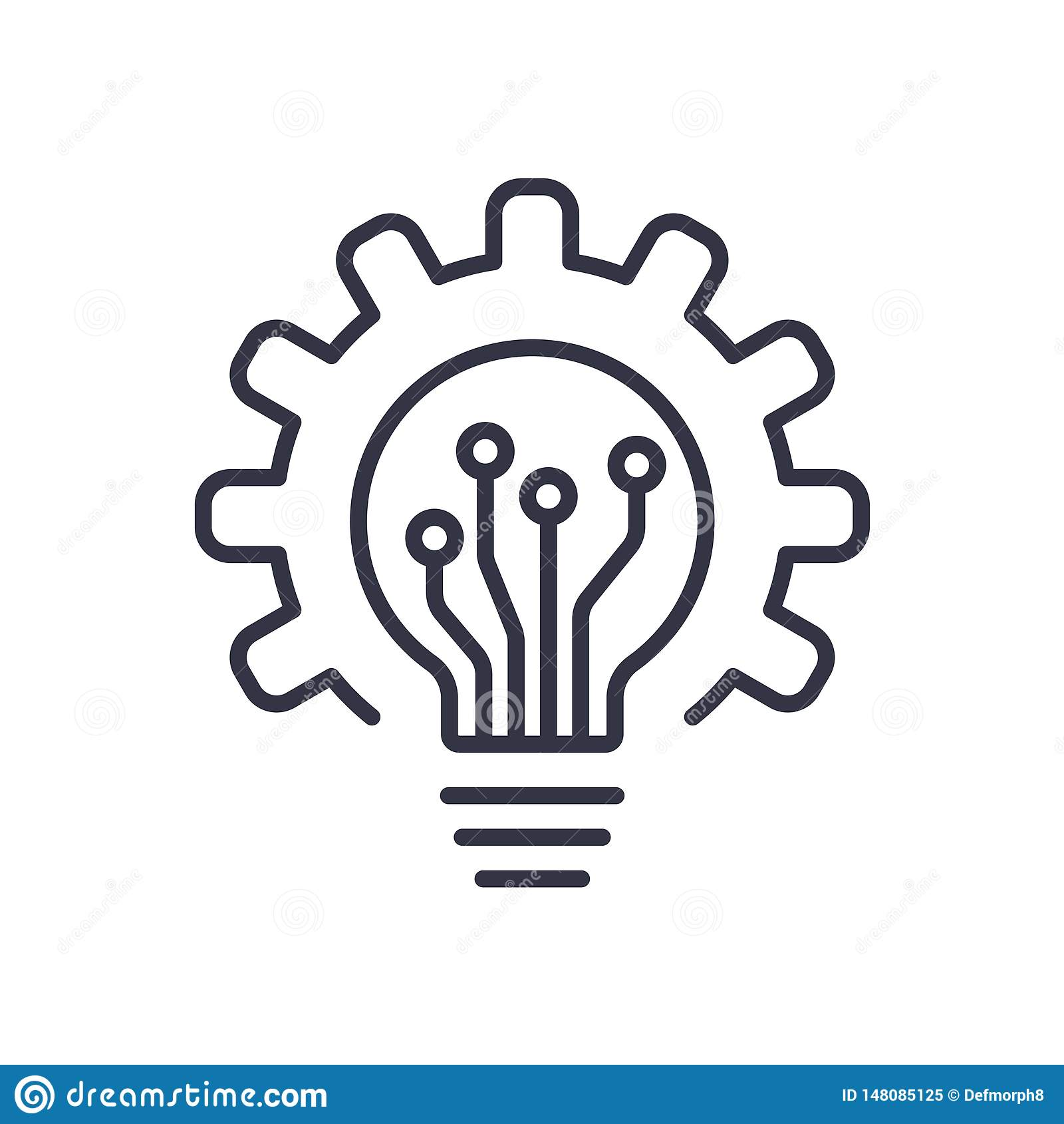 Ic?ne et vitesse d ampoule Ampoule et roue dent?e ? l int?rieur Logo Concept Ligne plate moderne ic?ne de vecteur
