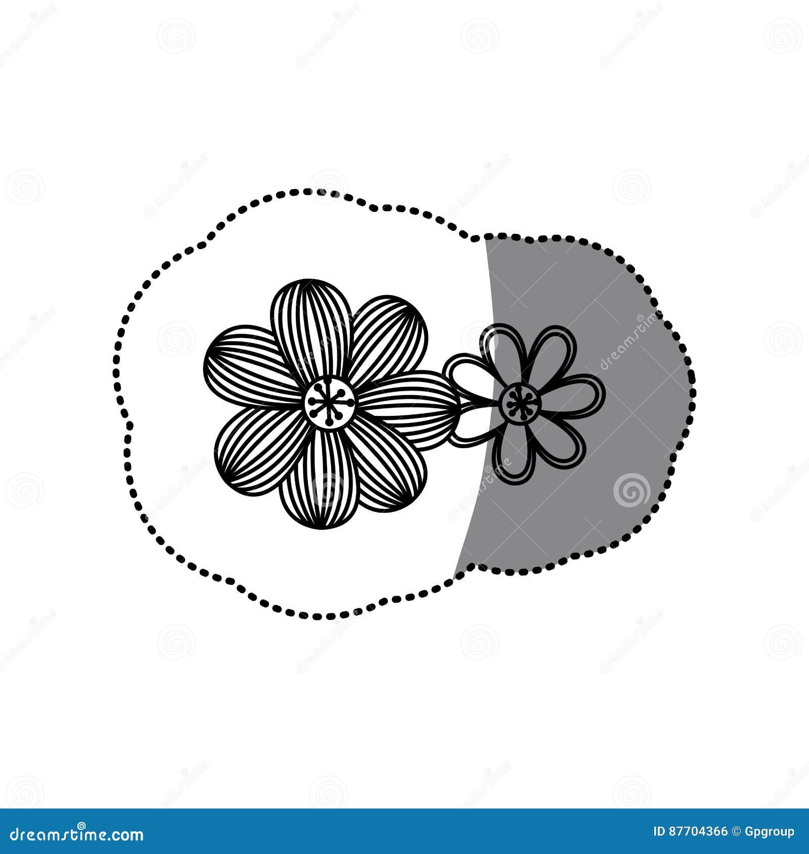 Icône florale de fleur réglée de silhouette d autocollant