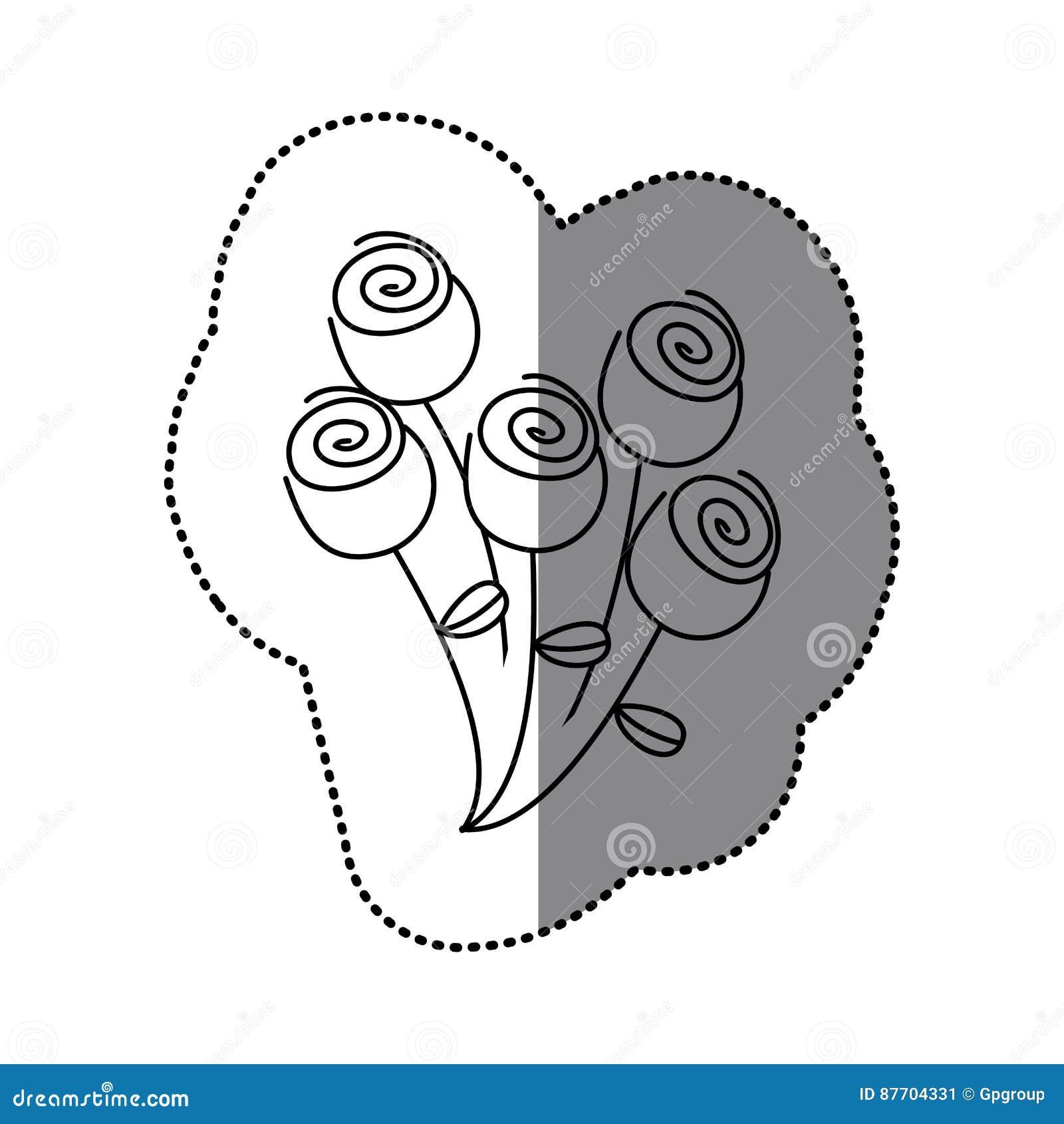 Icône florale de roses de bouquet de silhouette d autocollant