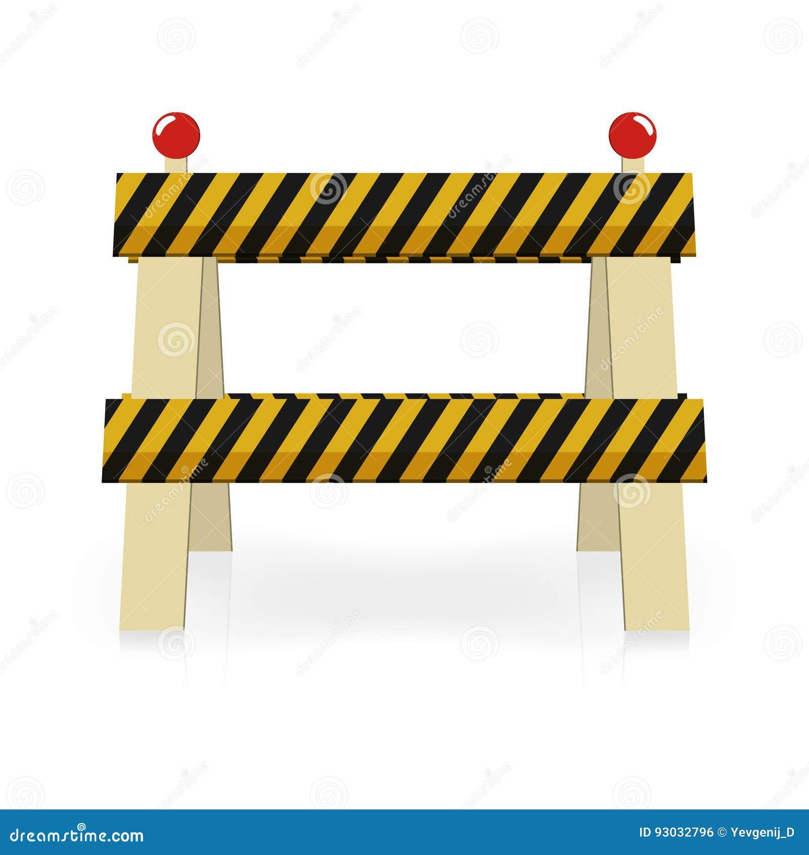 Icône légère de construction de barrière En construction, barrière du trafic de rue Rayures noires et jaunes avec des lumières