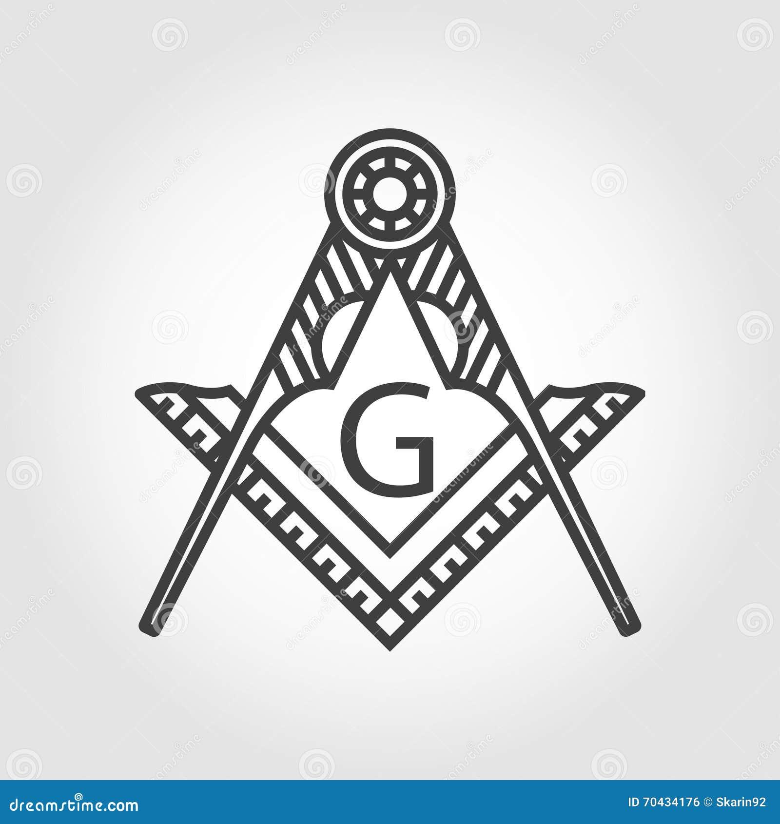 Icône maçonnique grise d emblème de franc-maçonnerie de vecteur