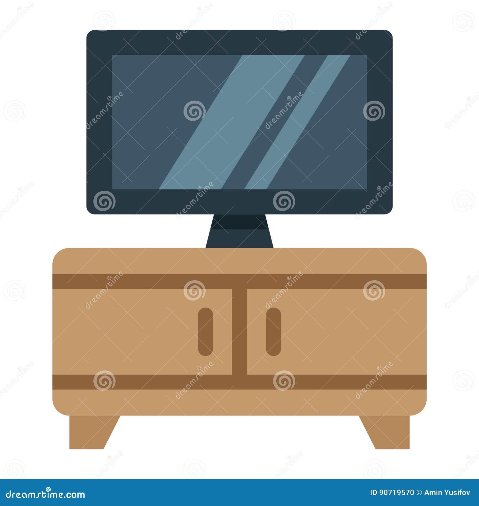 Icône Meubles Et Intérieur Plats De Banc De Tv Illustration De