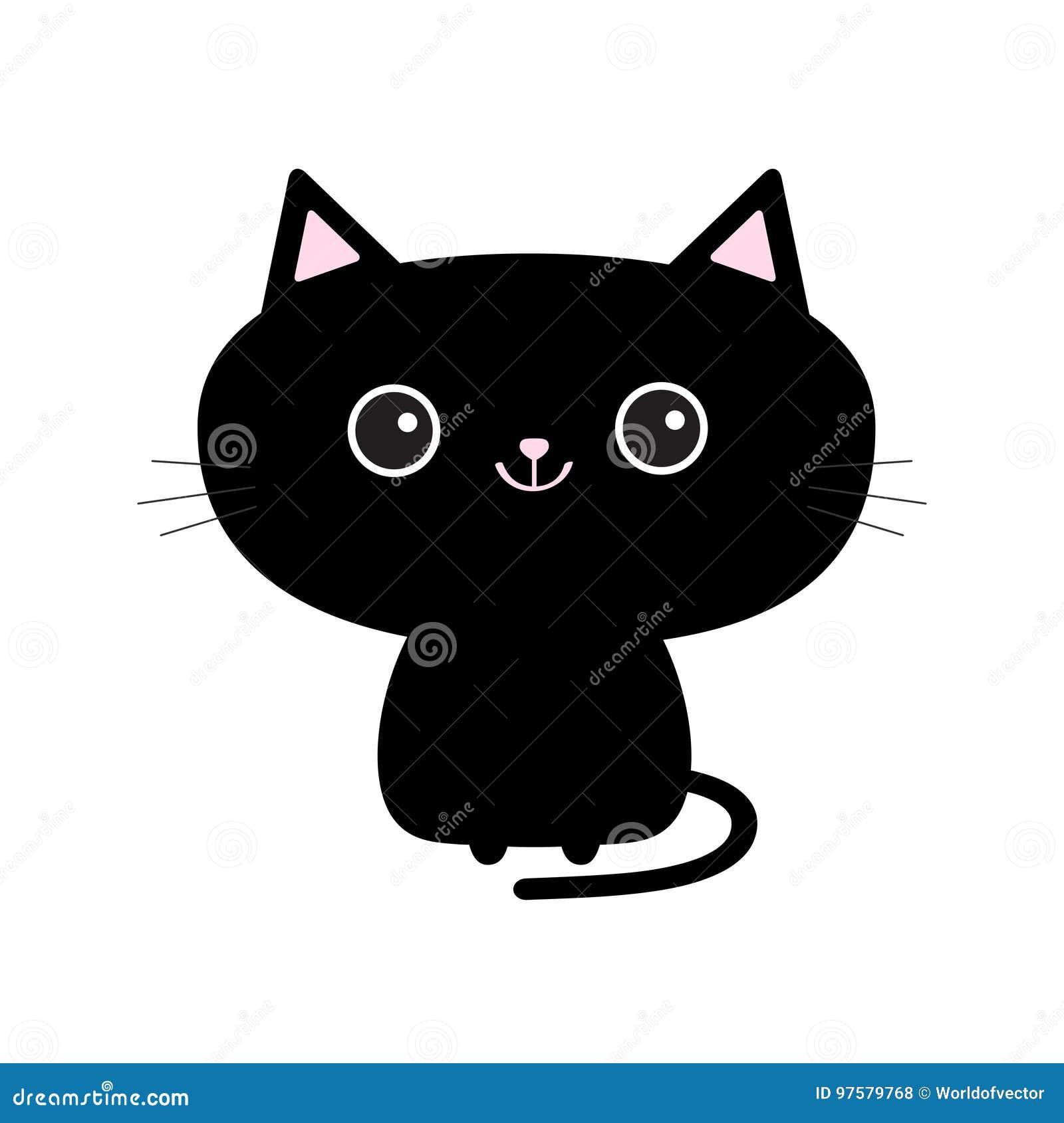 Icône Mignonne De Chat Noir Personnage De Dessin Animé Drôle
