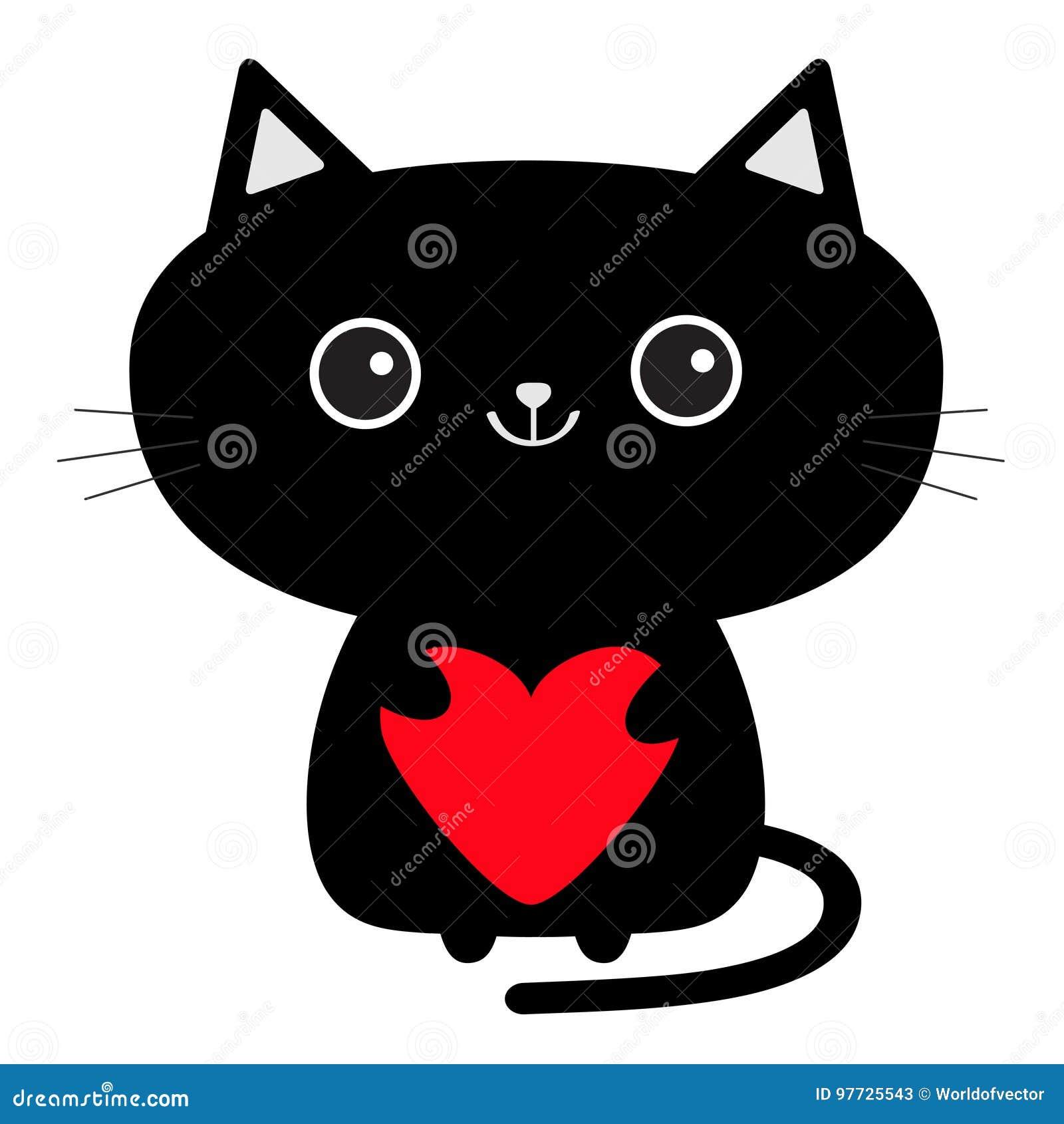 Icône Mignonne De Chat Noir Tenant Le Coeur Rouge Personnage