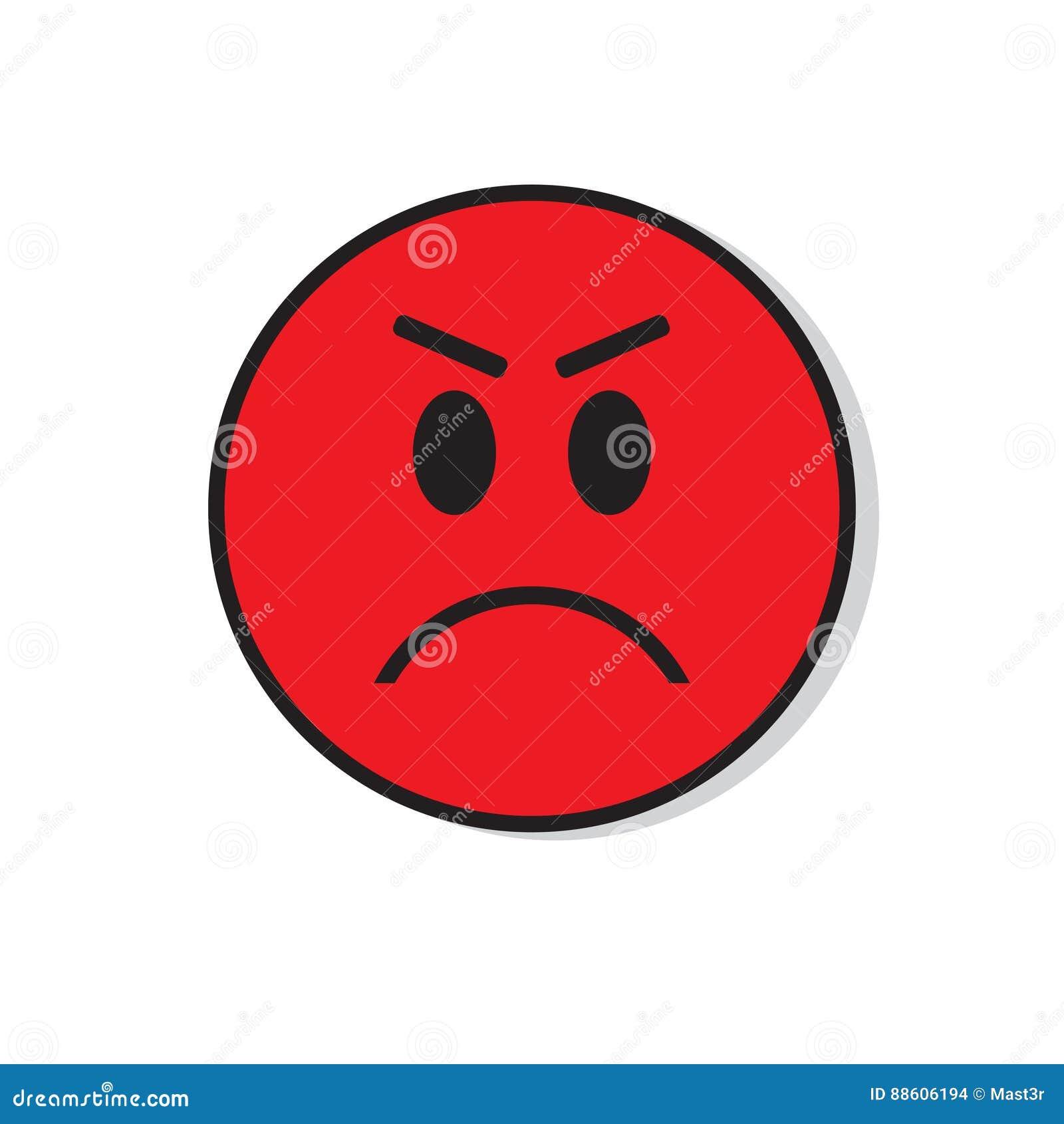 Icône négative d émotion de personnes de visage triste fâché rouge