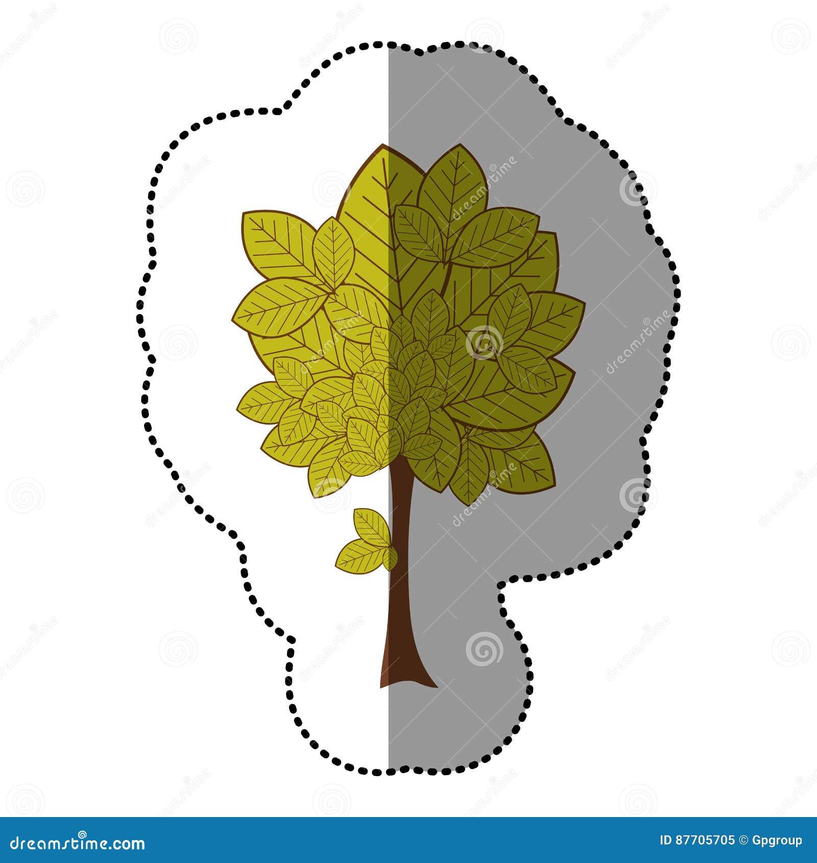 Icône naturelle d arbre d autocollant de vert de chaux