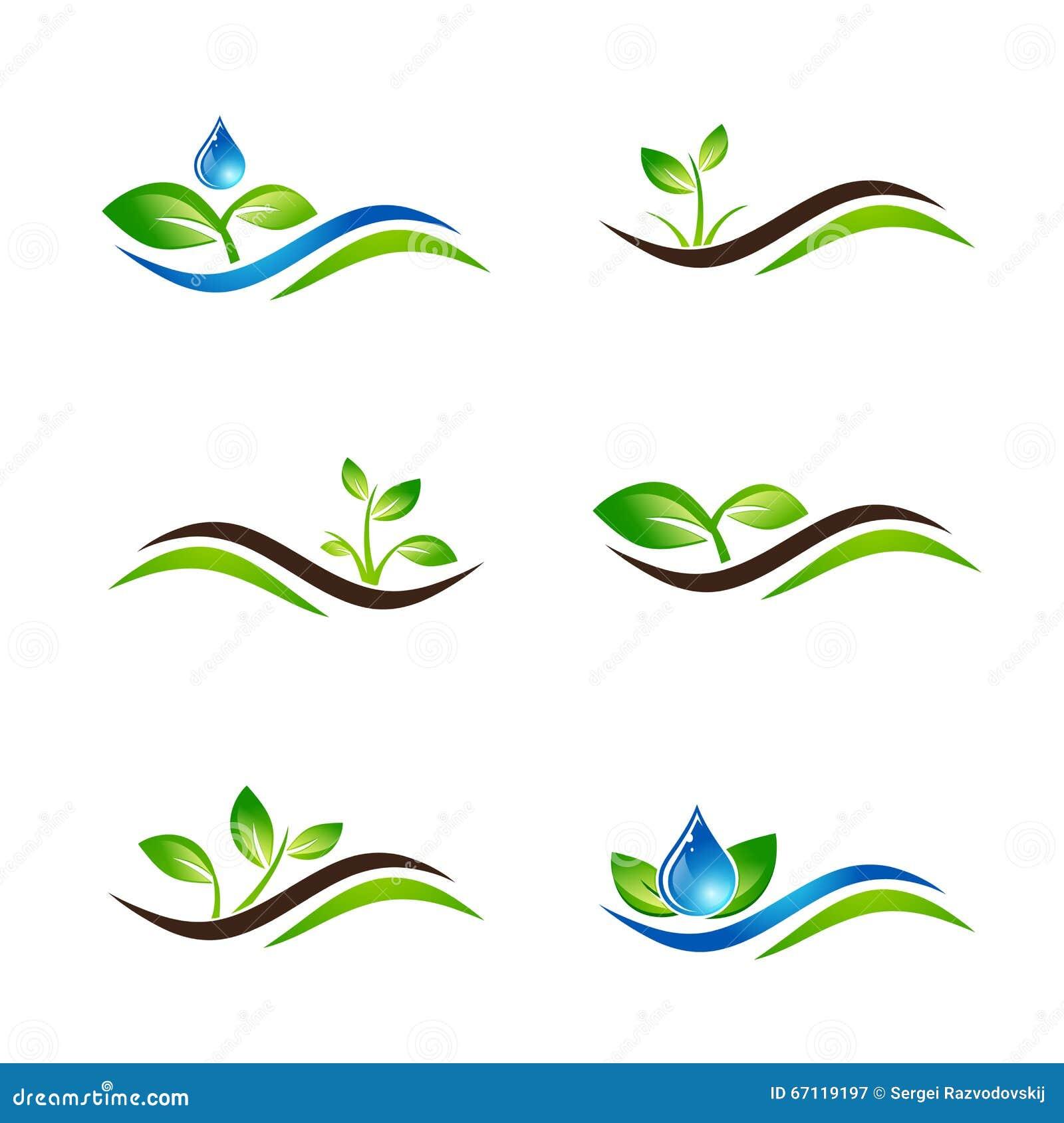 Ic ne ou logo design set verte de paysage de pousse for Design paysage