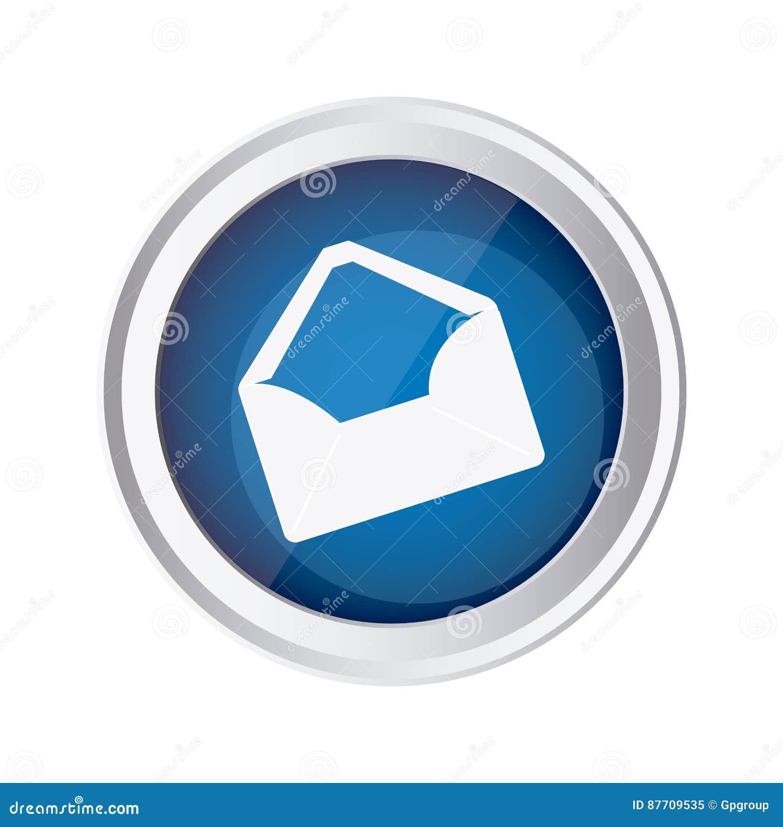 Icône ouverte d enveloppe de message d emblème bleu