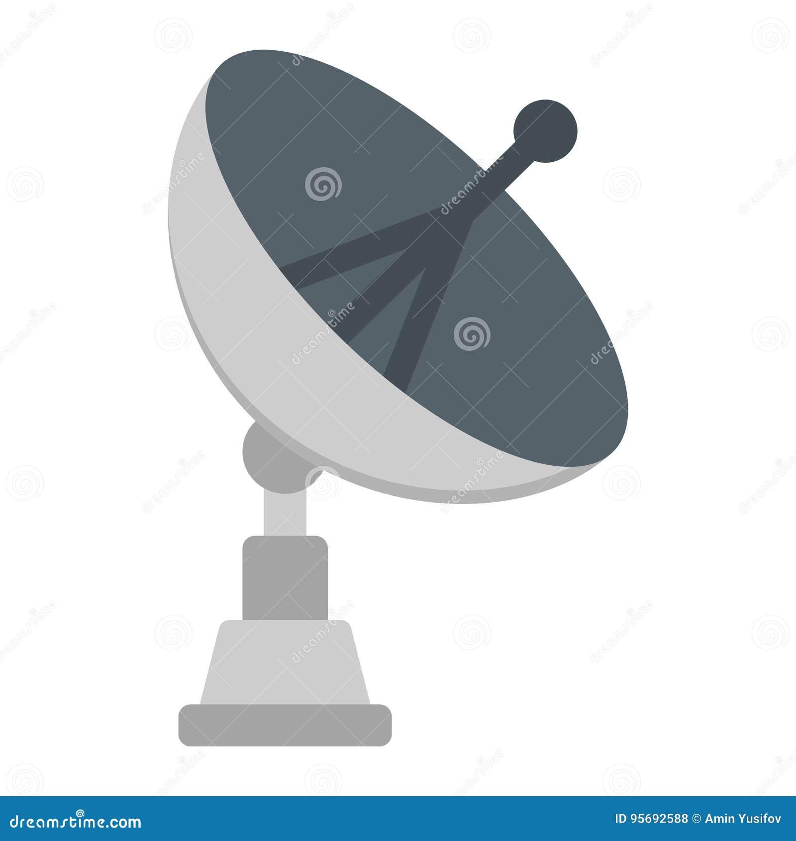 icône plate, antenne et radar d'antenne parabolique illustration de
