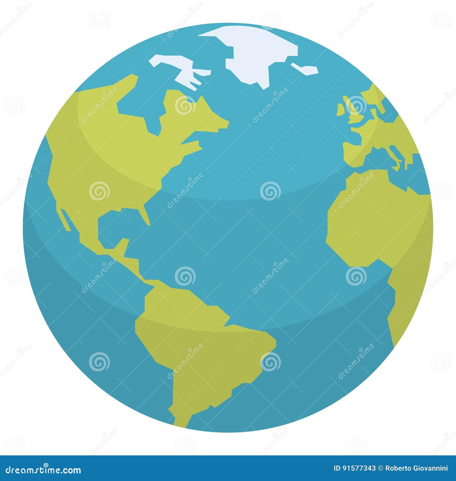 Icône plate de la terre de planète d isolement sur le blanc
