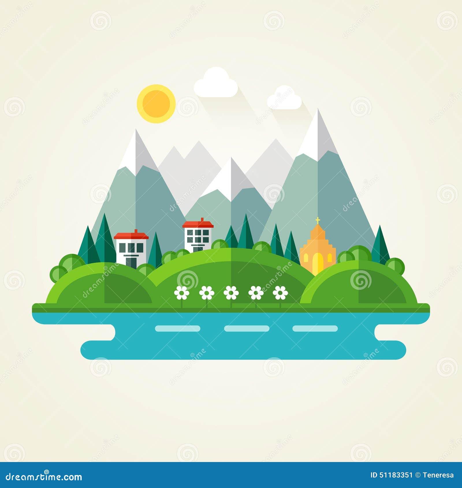 Icne Plate De Paysage De Nature Illustration de Vecteur