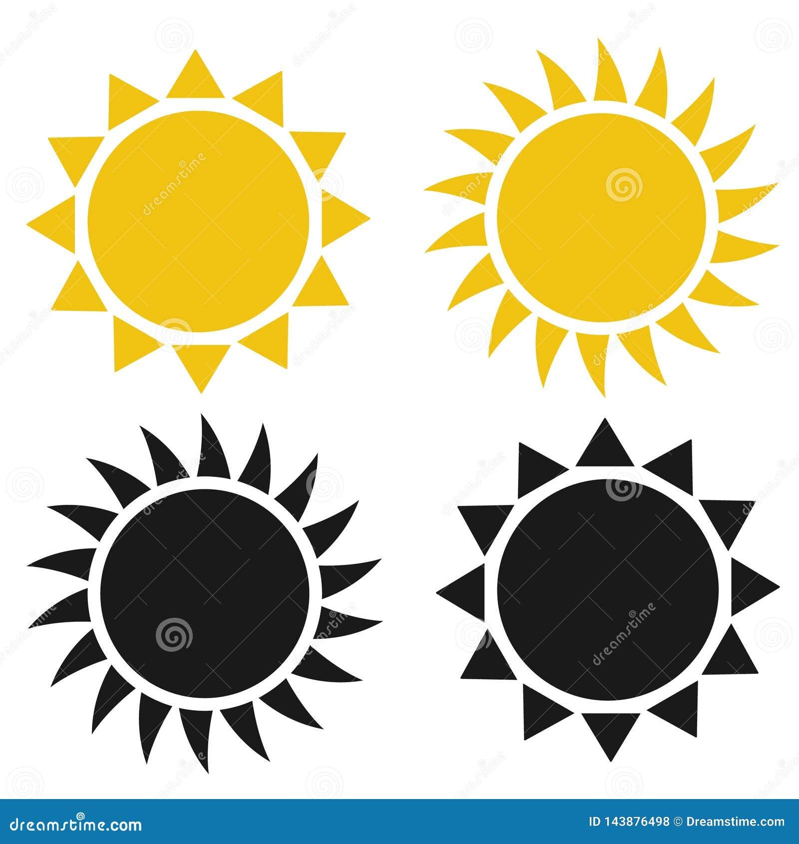 Ic?ne plate de Sun Pictogramme de Sun illustration de vecteur de calibre