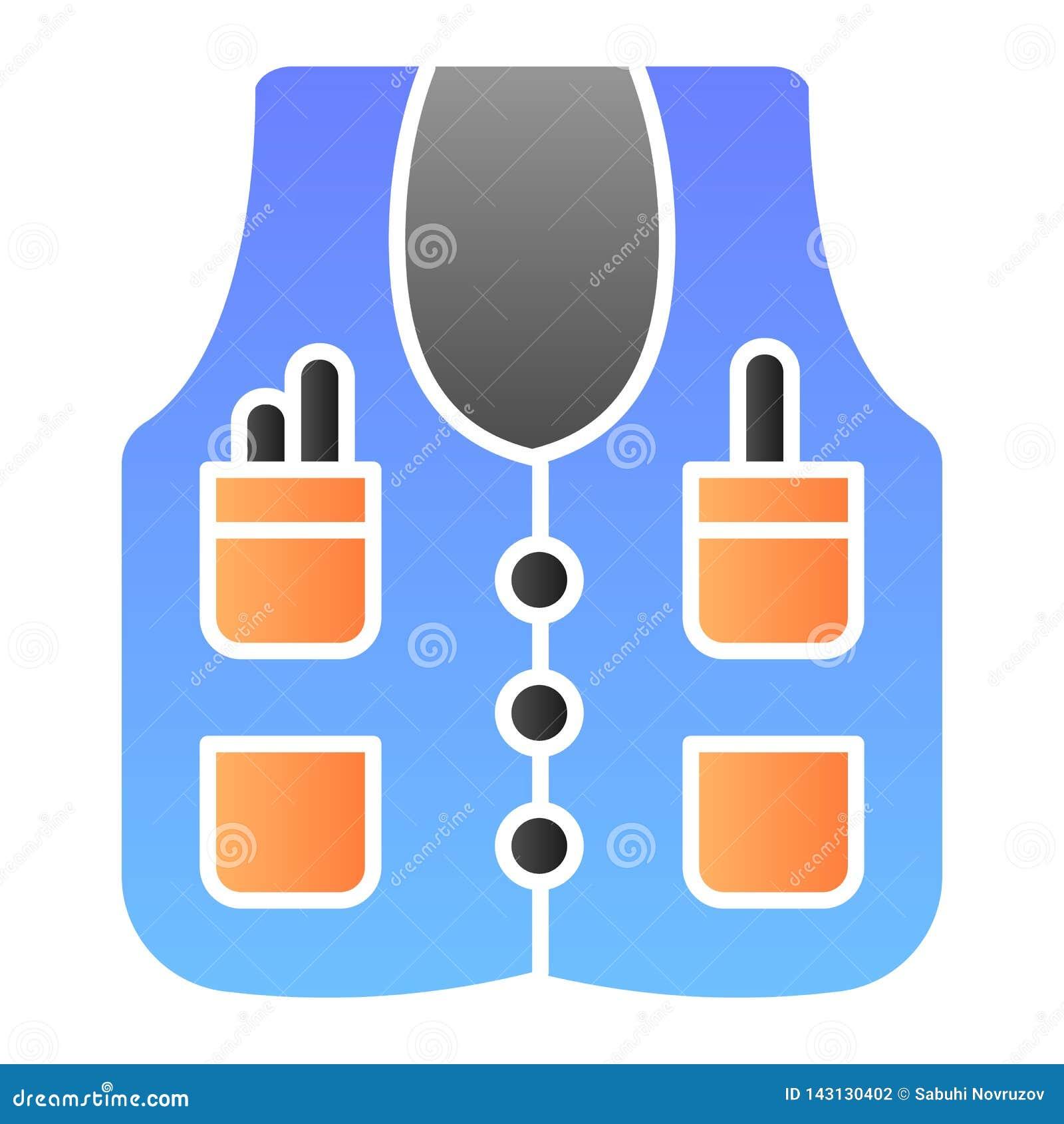 Ic?ne plate de veste de travailleur Veste mettant d aplomb des icônes de couleur dans le style plat à la mode Conception de style