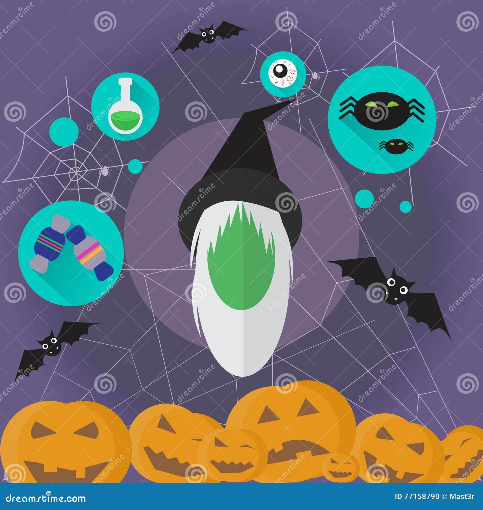 Icône plate Halloween de magicien de femme de sorcière