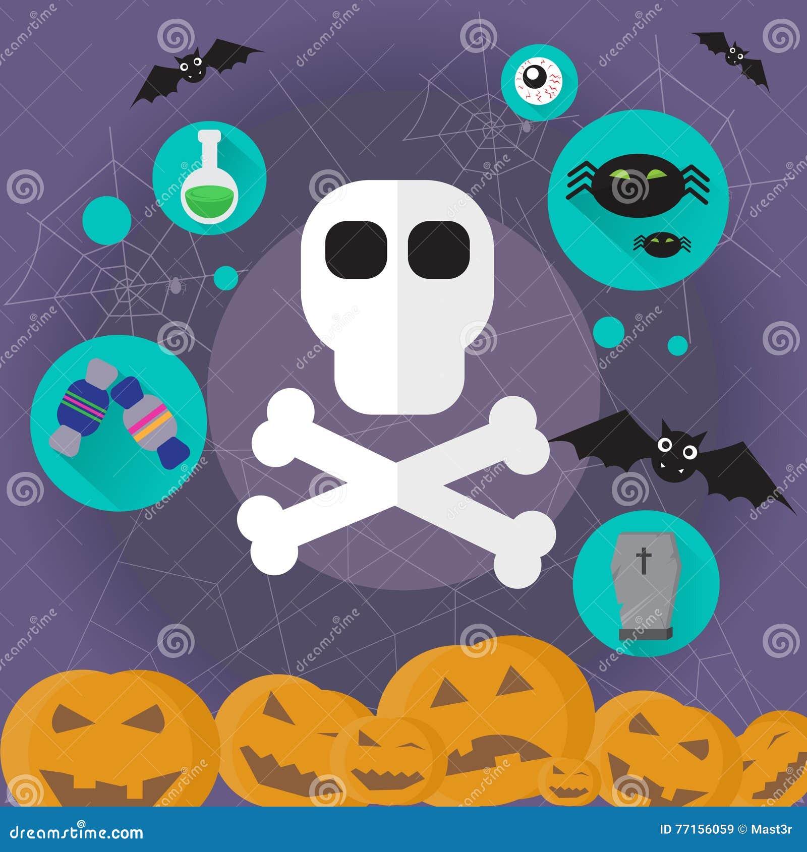 Icône plate Halloween de tête humaine de crâne