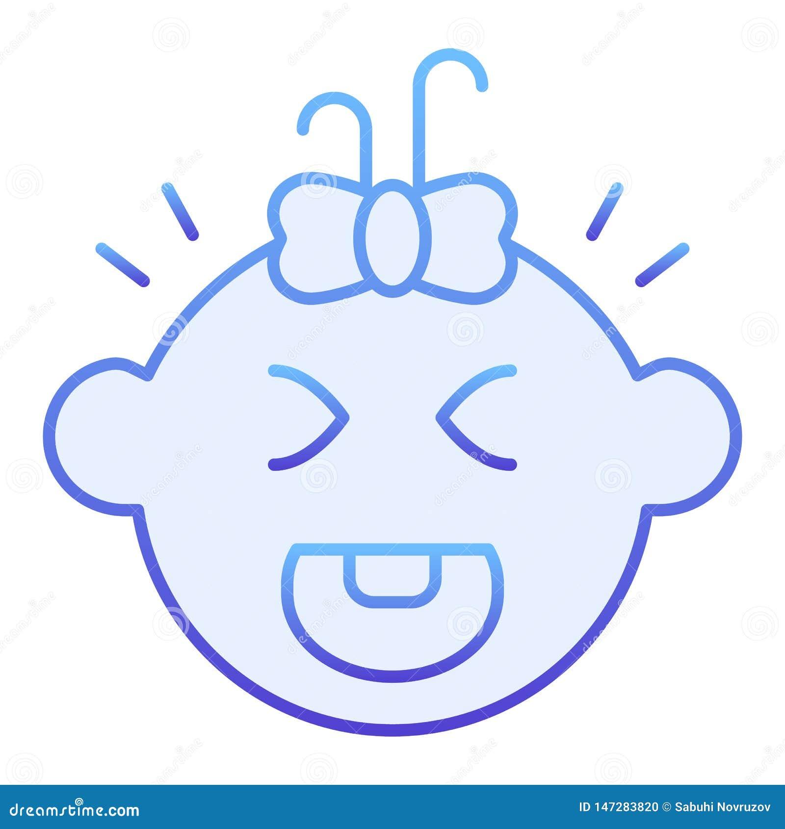 Ic?ne plate pleurante de b?b? Icônes bleues de cri d enfant dans le style plat à la mode Conception de style de gradient de visag