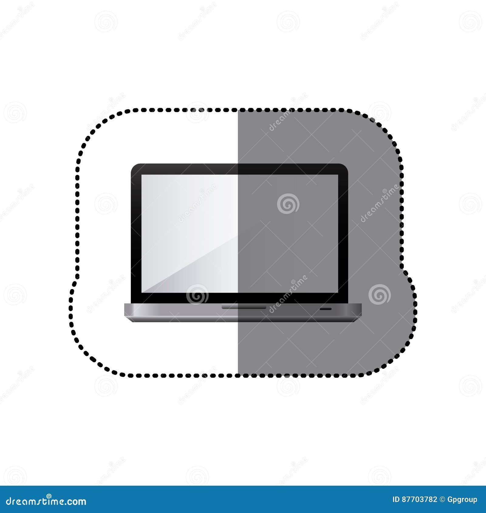 Icône réaliste d ordinateur portable de technologie d autocollant