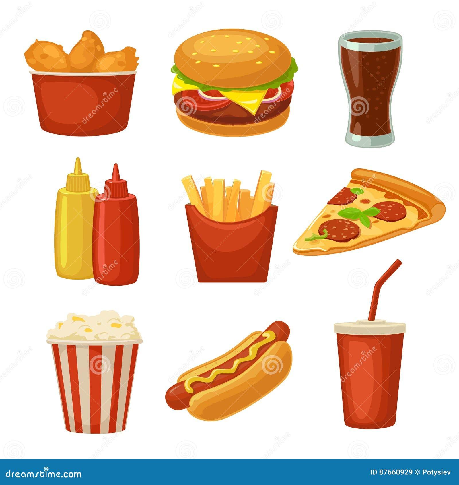 Icône réglée d aliments de préparation rapide Mettez en forme de tasse le kola, les frites, le burrito, l hamburger, le symbole d
