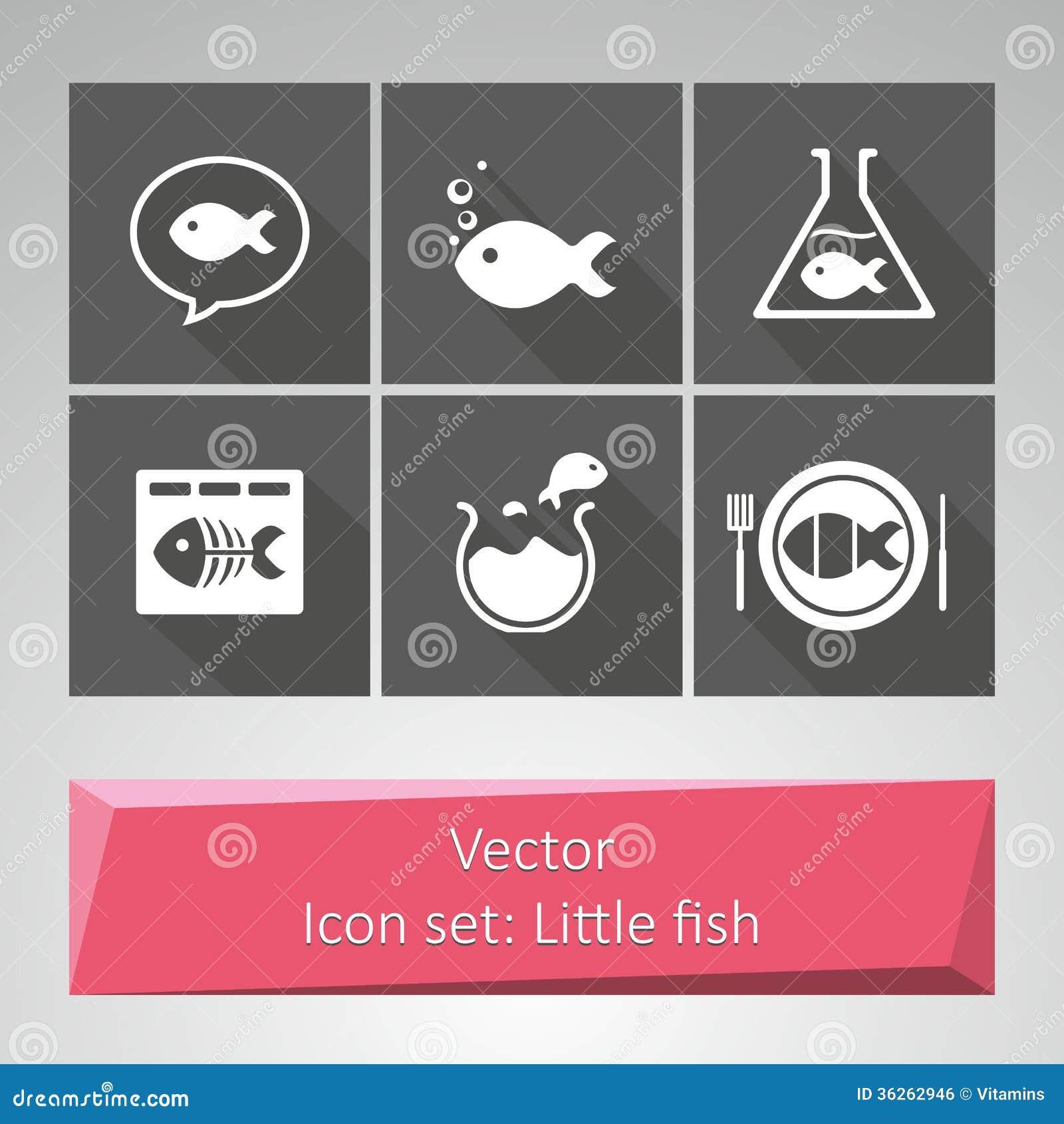 Icône réglée : Petits poissons