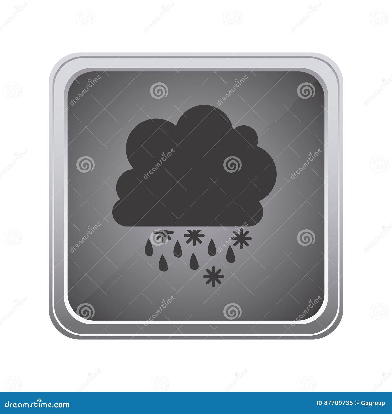 Icône rainning et de chute de neige de nuage gris d emblème
