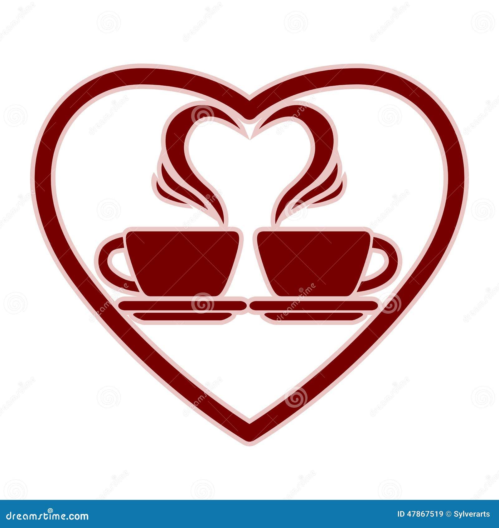 Icône romantique de datation avec deux tasses de café