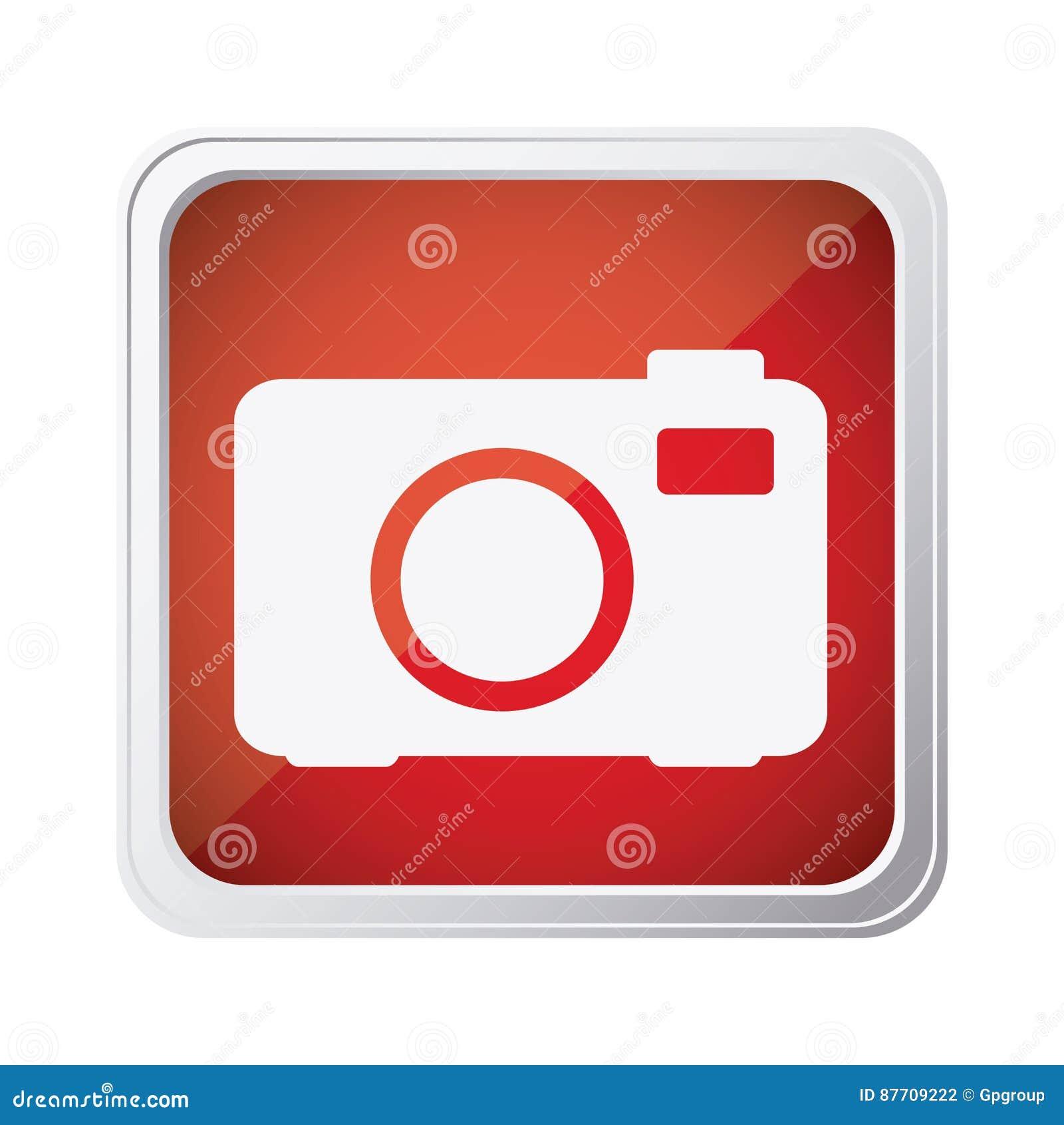 Icône rouge d appareil-photo d emblème