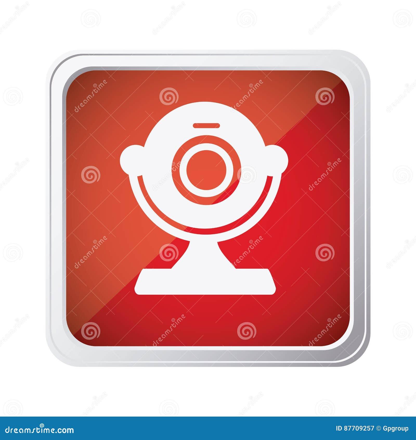 Icône rouge d appareil-photo d ordinateur d emblème