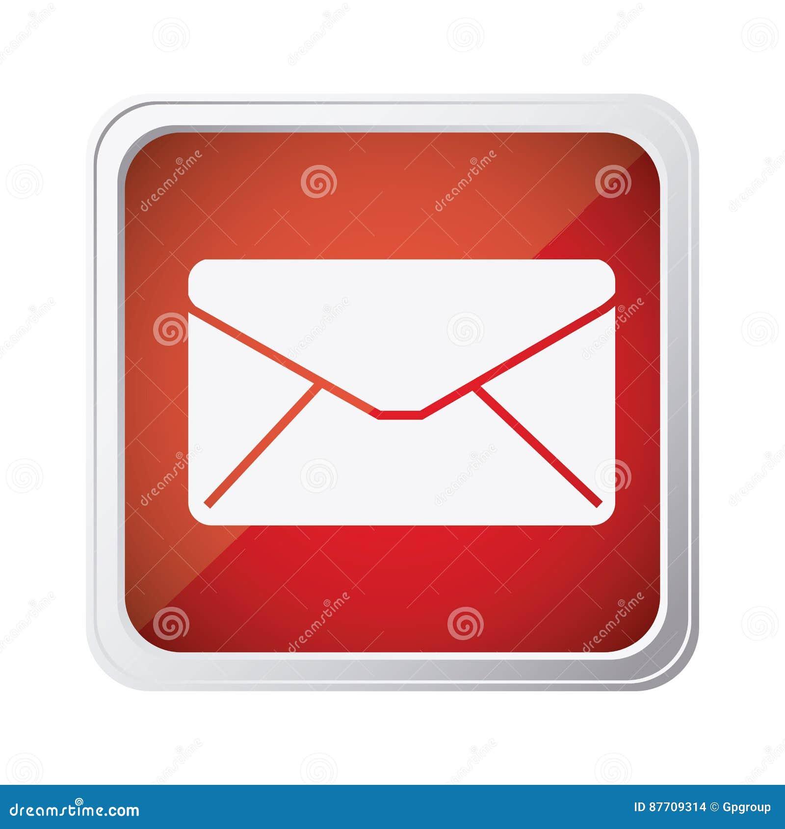 Icône rouge d enveloppe de message de fin d emblème